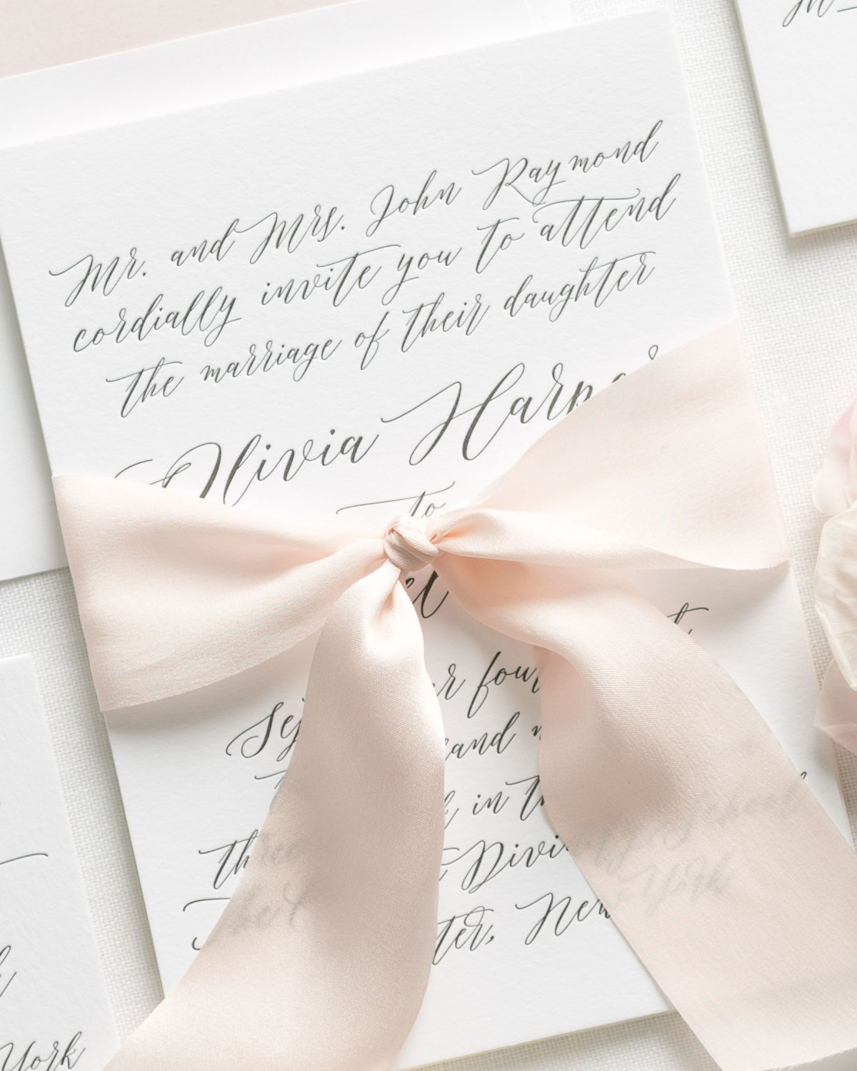 Letterpress Wedding Invitations with Blush Pink Silk Ribbon
