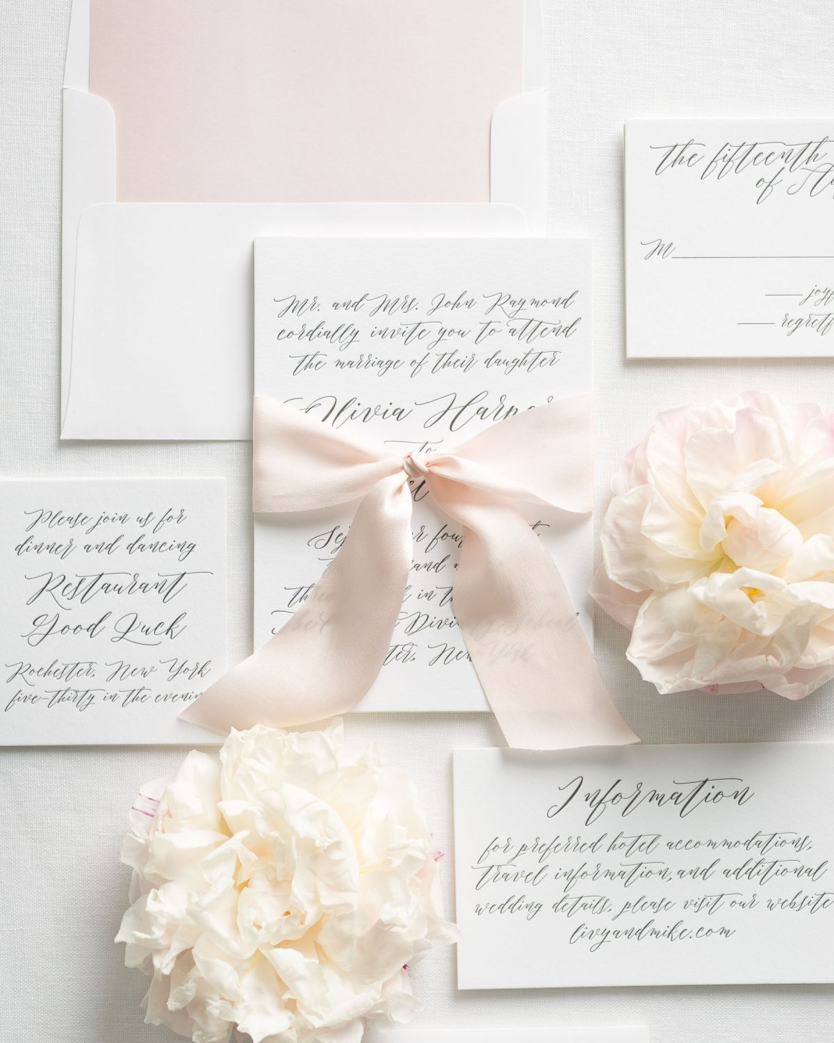 Light Pink Letterpress Wedding Invitations with Ribbon