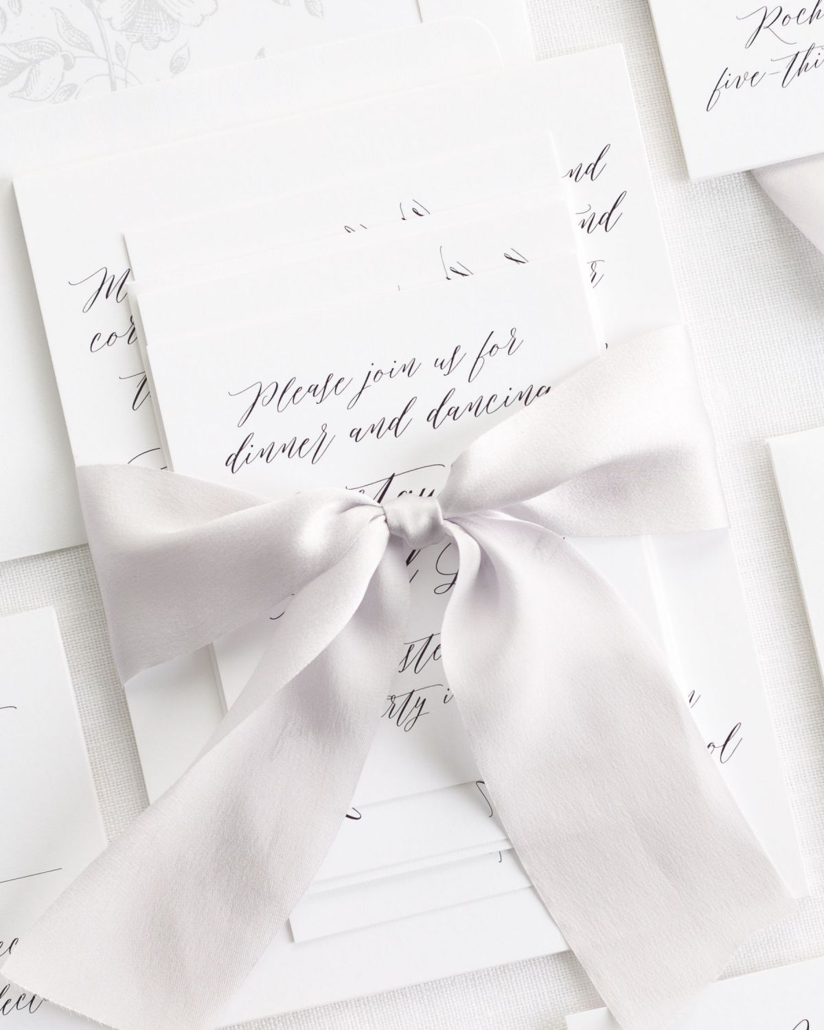 Gray Wedding Invitations with Silk Ribbon and Floral Envelope Liner
