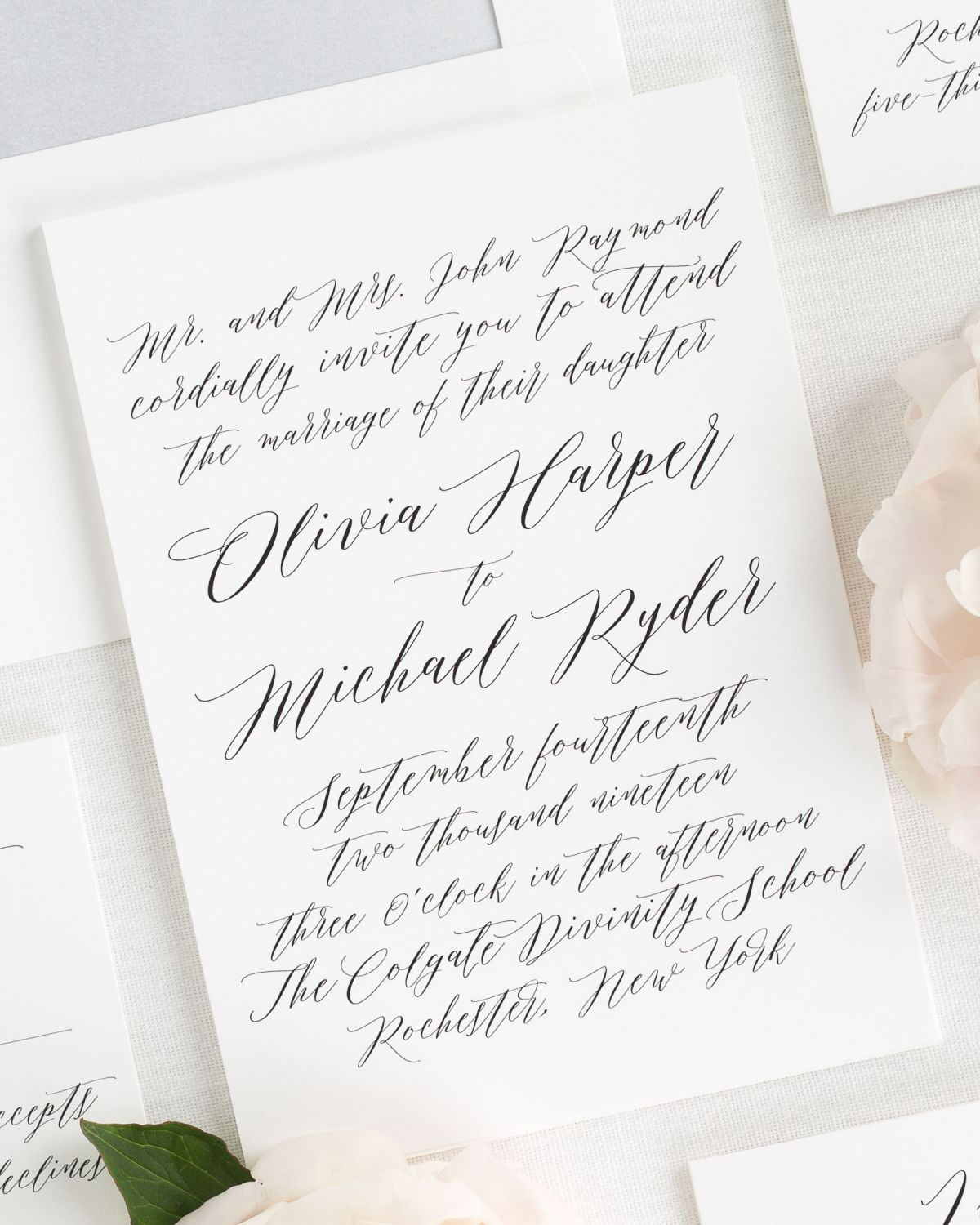 Modern Calligraphy Wedding Invitations with a Dove Gray Envelope Liner