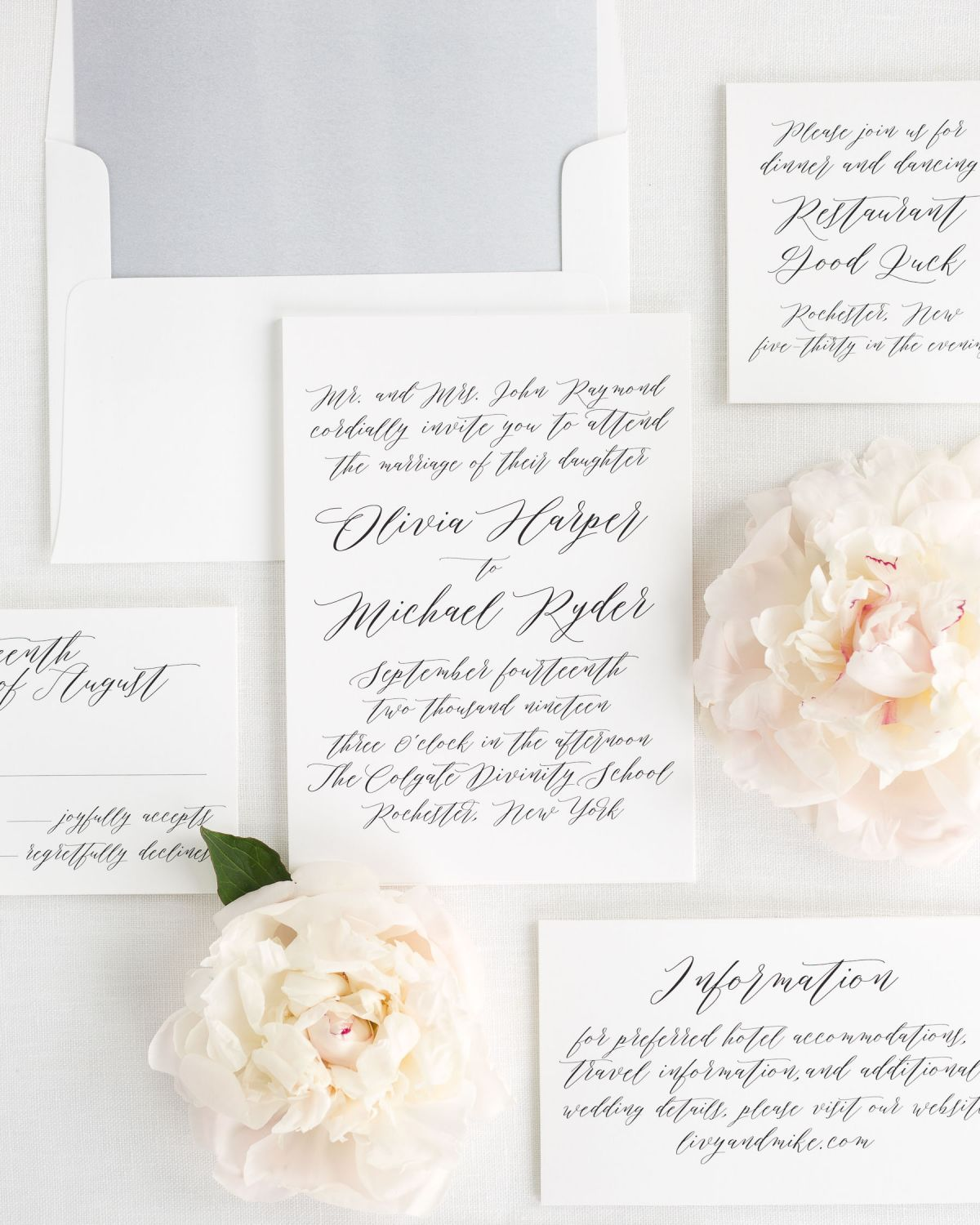Wedding Invitation Suite with Watercolor Envelope Liner