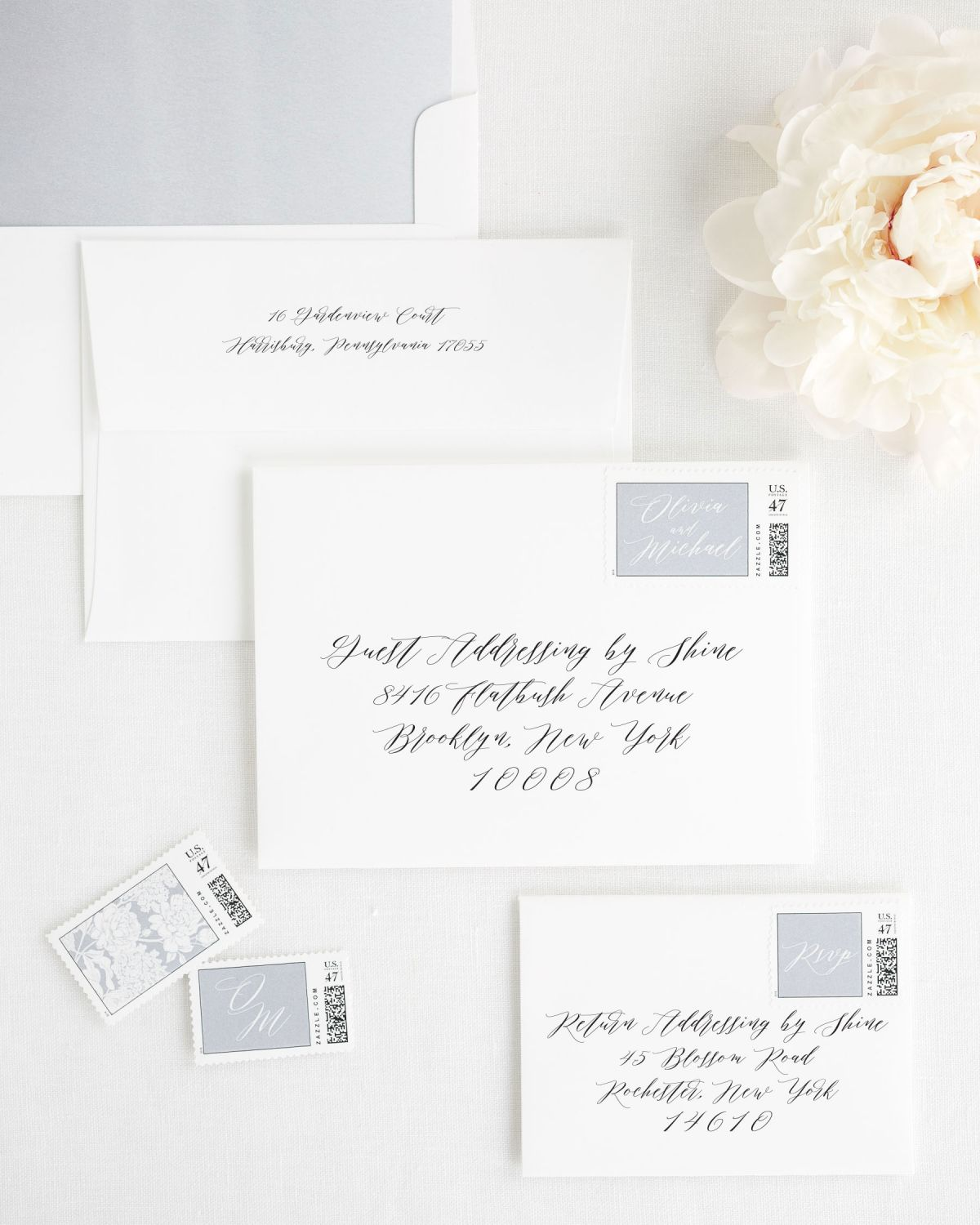 Wedding Invitation Envelopes with Dove Gray Custom Stamps and Watercolor Liner