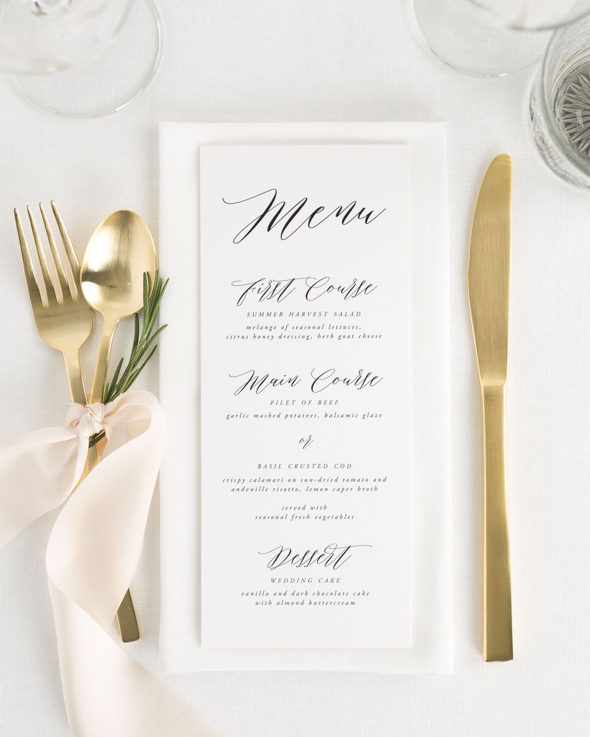 Simple Wedding Menus with Greenery and Gold Flatware