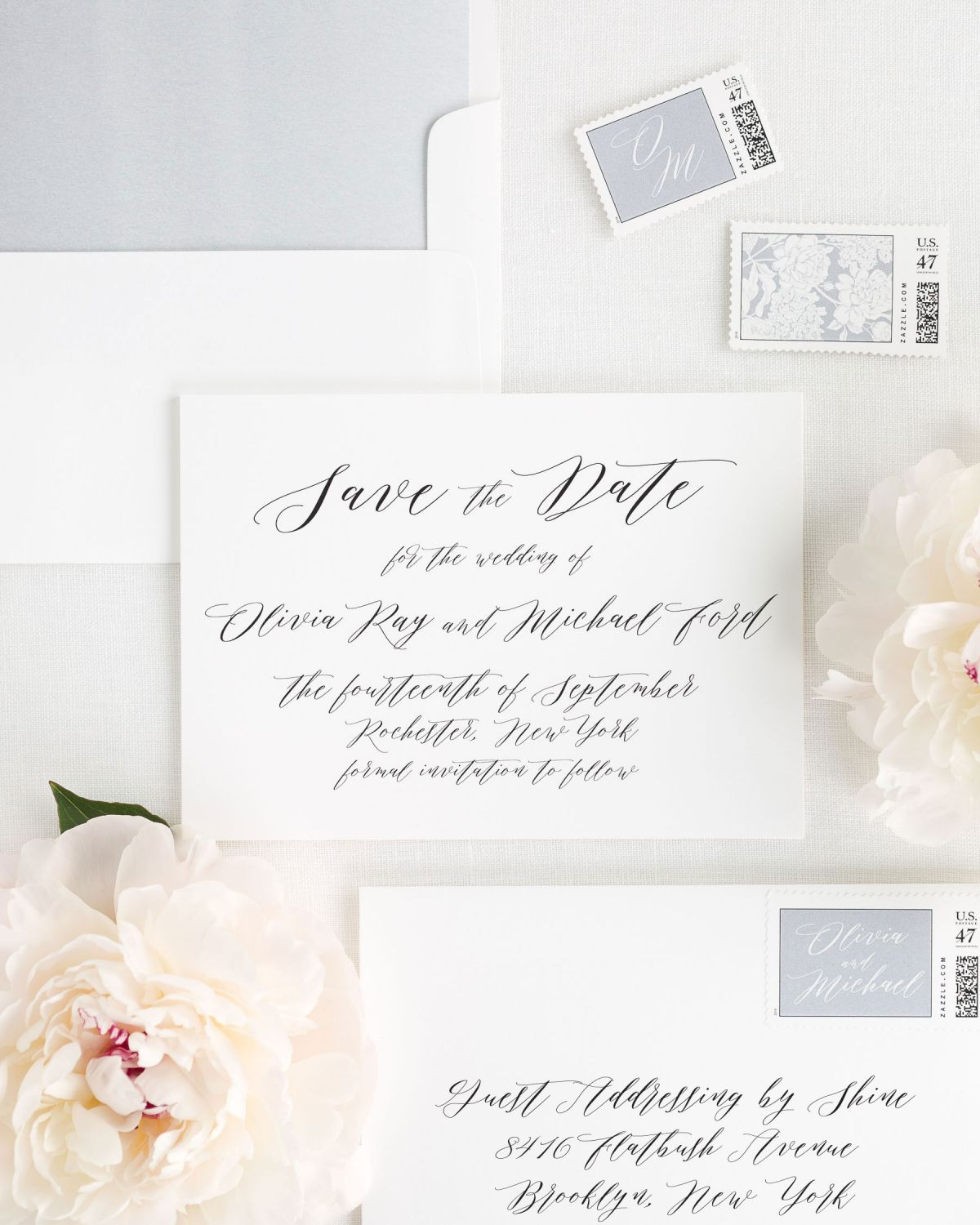 Calligraphy Save the Dates with Custom Stamps