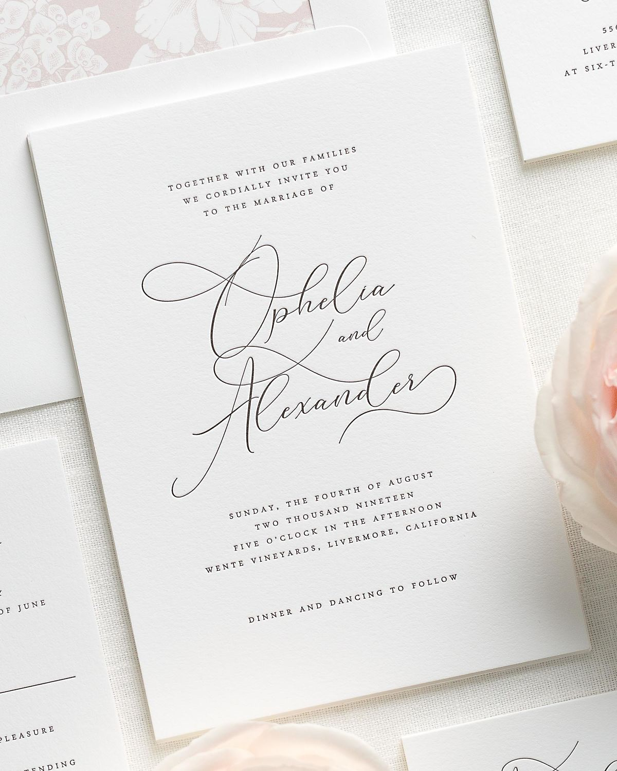 Romantic And Dramatic Letterpress Wedding Invitations