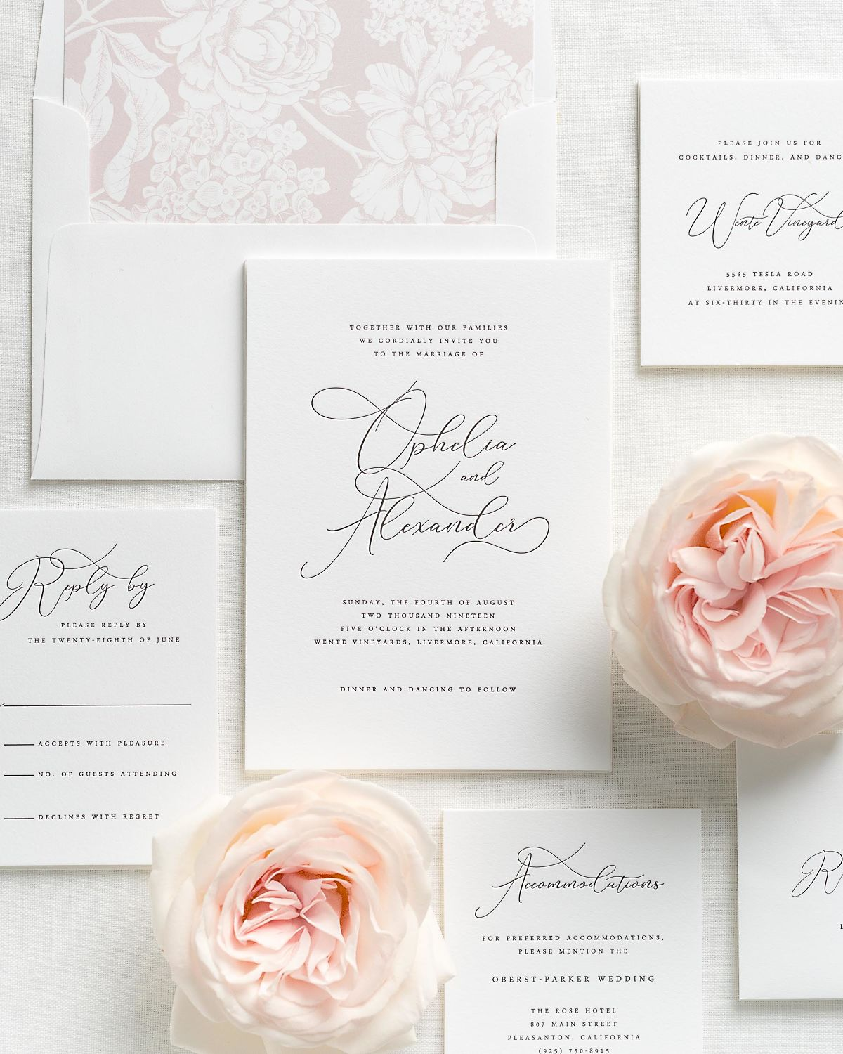 Letterpress Wedding Invitations with Vintage Blush Hydrangea Envelope Liner and Matching Accessories