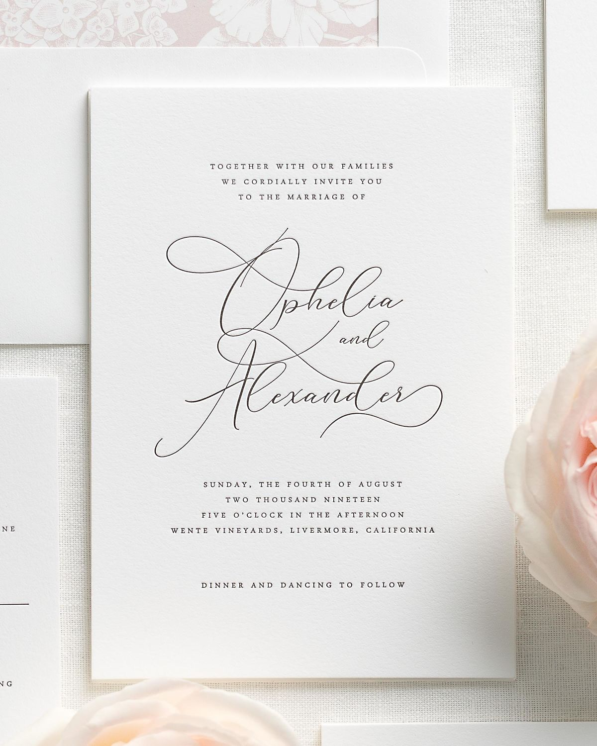 Vintage Blush Wedding Invitation Suite with Letterpress Printing