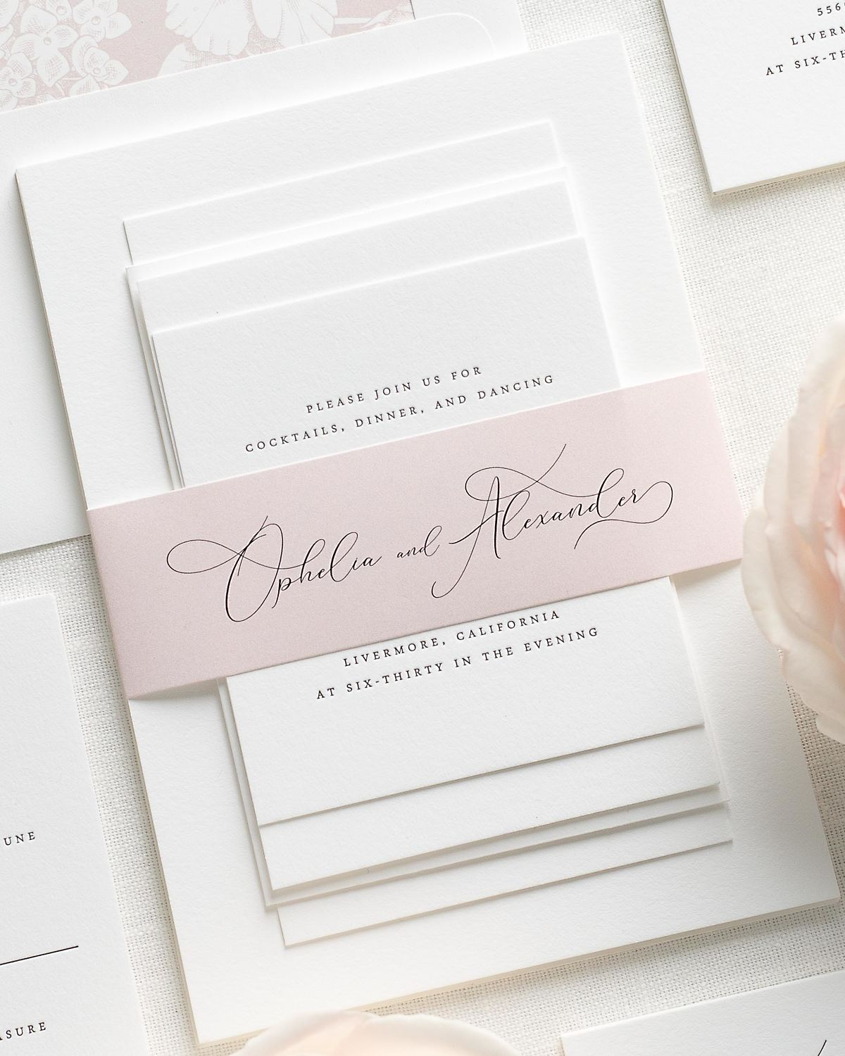 Wedding Invitations with Vintage Blush Belly Band and Letterpress Printing