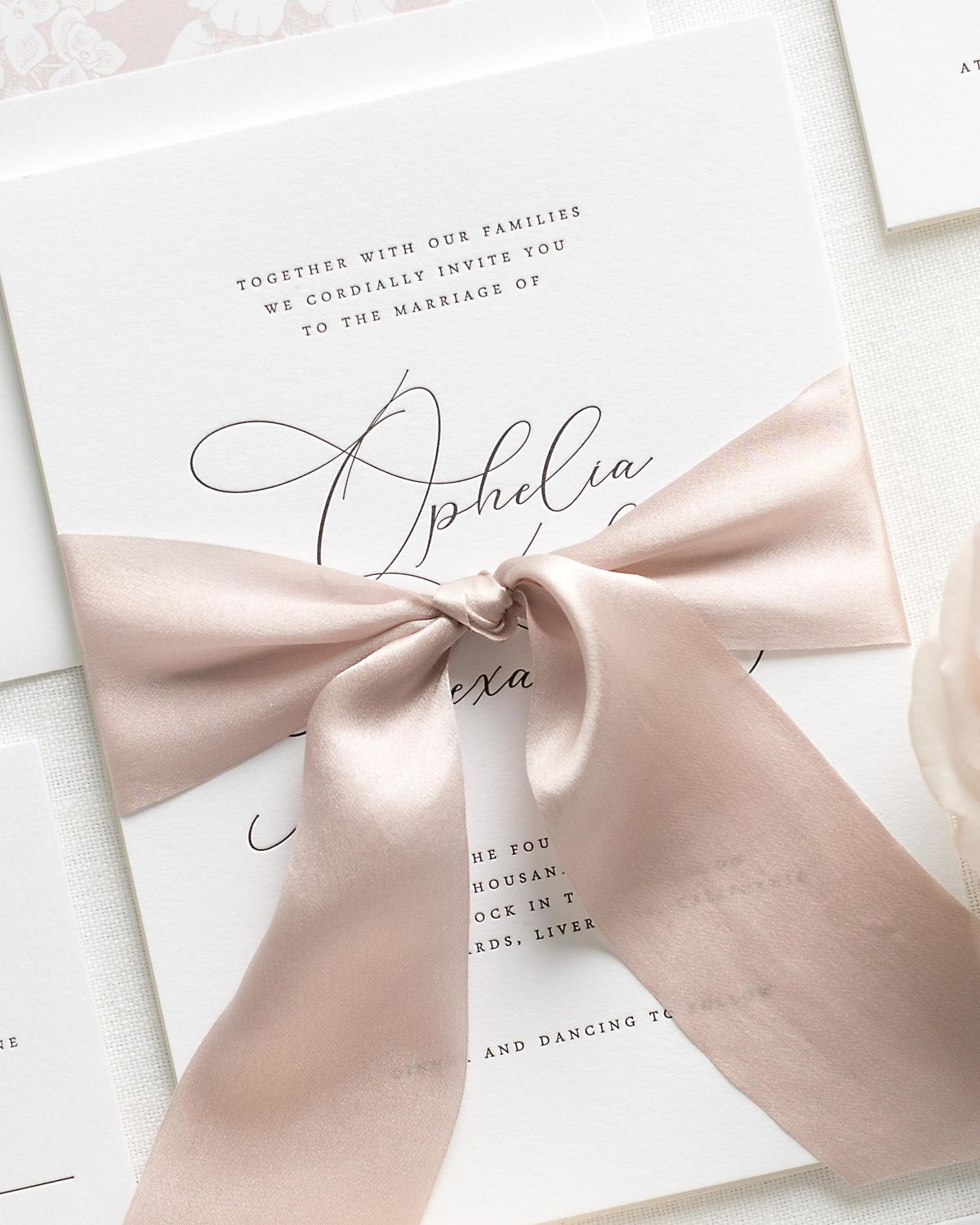 Letterpress Wedding Invitations with Antoinette Pink Ribbon