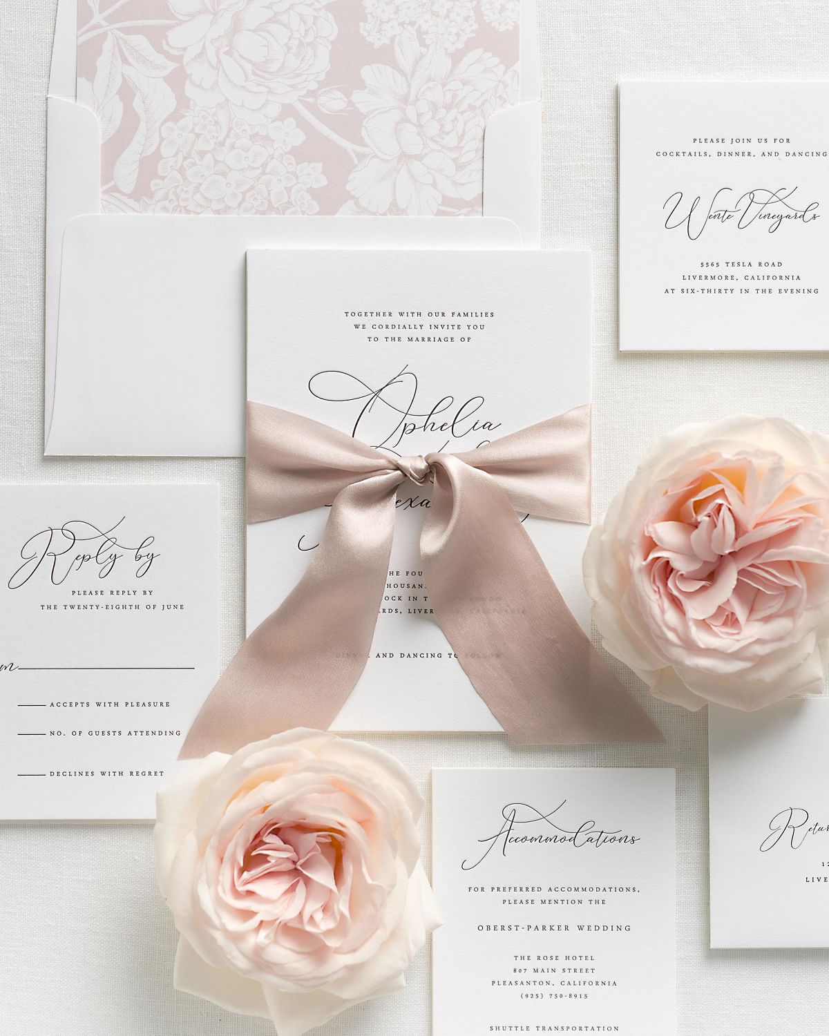 Vintage Blush Wedding Invitations with Antoinette Pink Silk Ribbon and Letterpress Printing