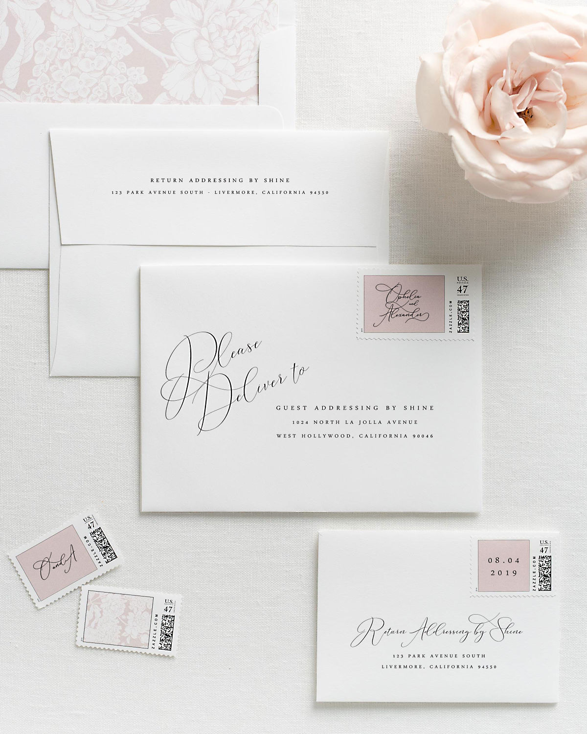 Wedding Invitation Envelopes with Pre-Printed Addresses and Matching Vintage Blush Personalized Stamps