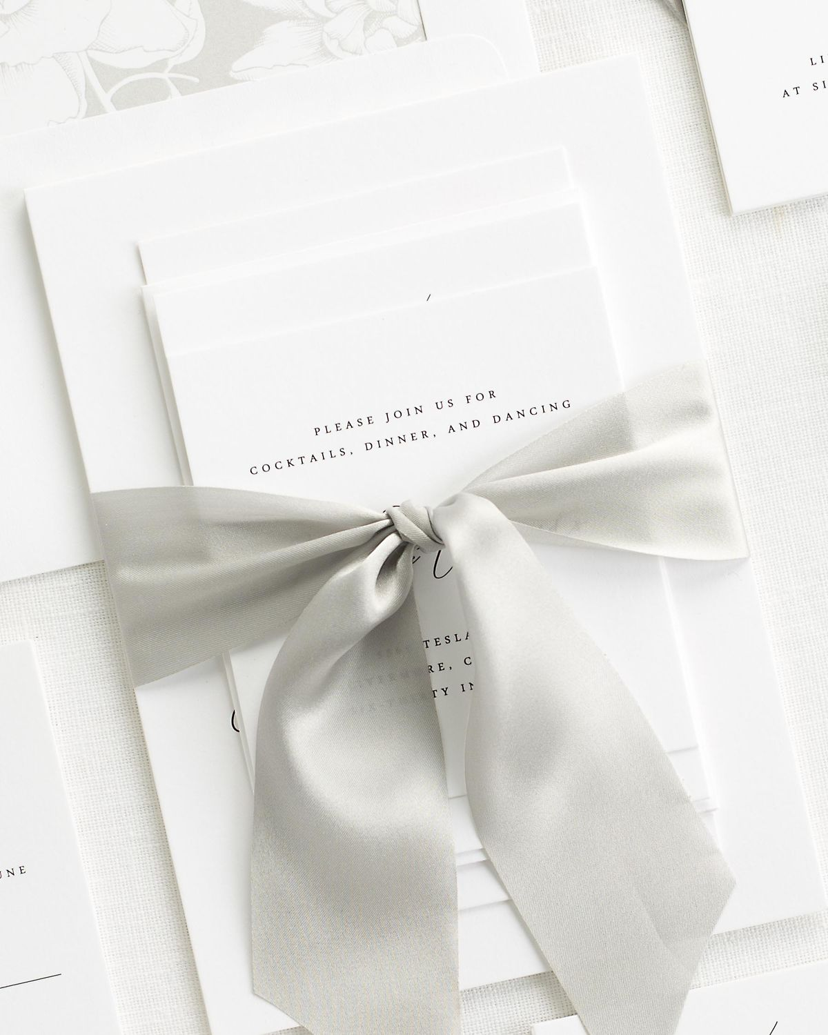 Complete Wedding Stationery Suite with Fog Ribbon and Enclosures
