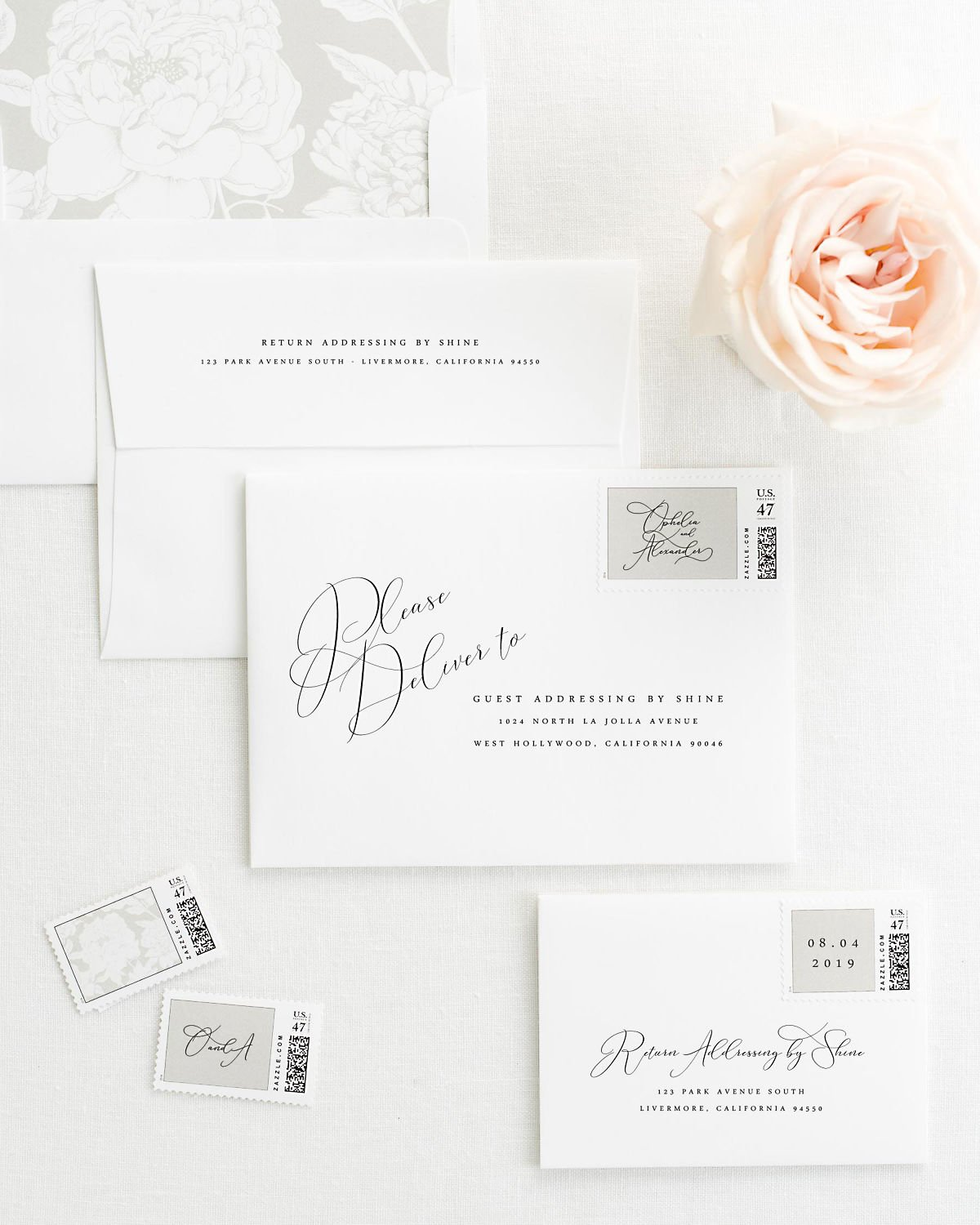 Wedding Invitation Envelopes With Pre Printed Addresseatching Stone Gray Personalized Postage