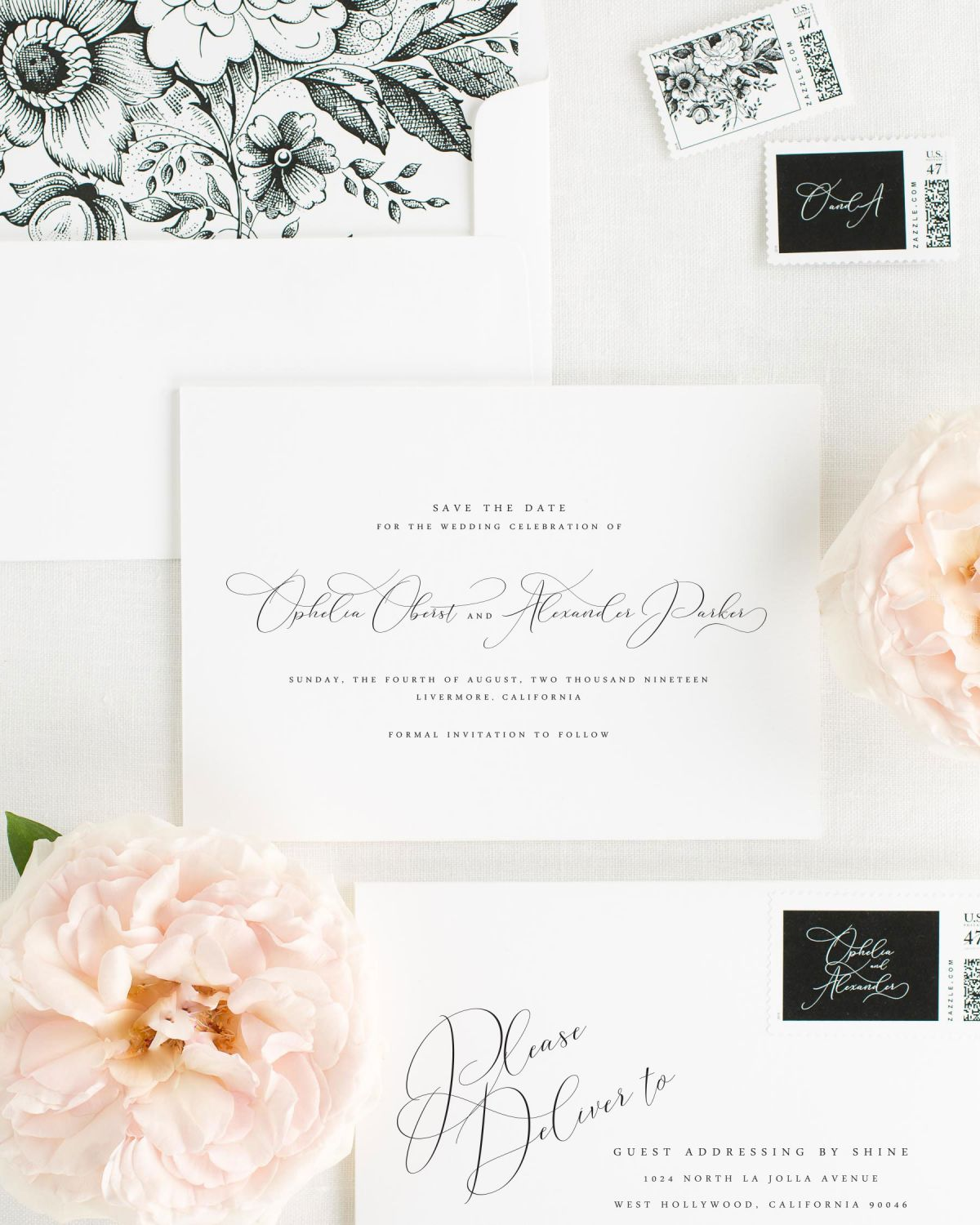 Save the Date with Black Envelope Liner and Personalized Stamps