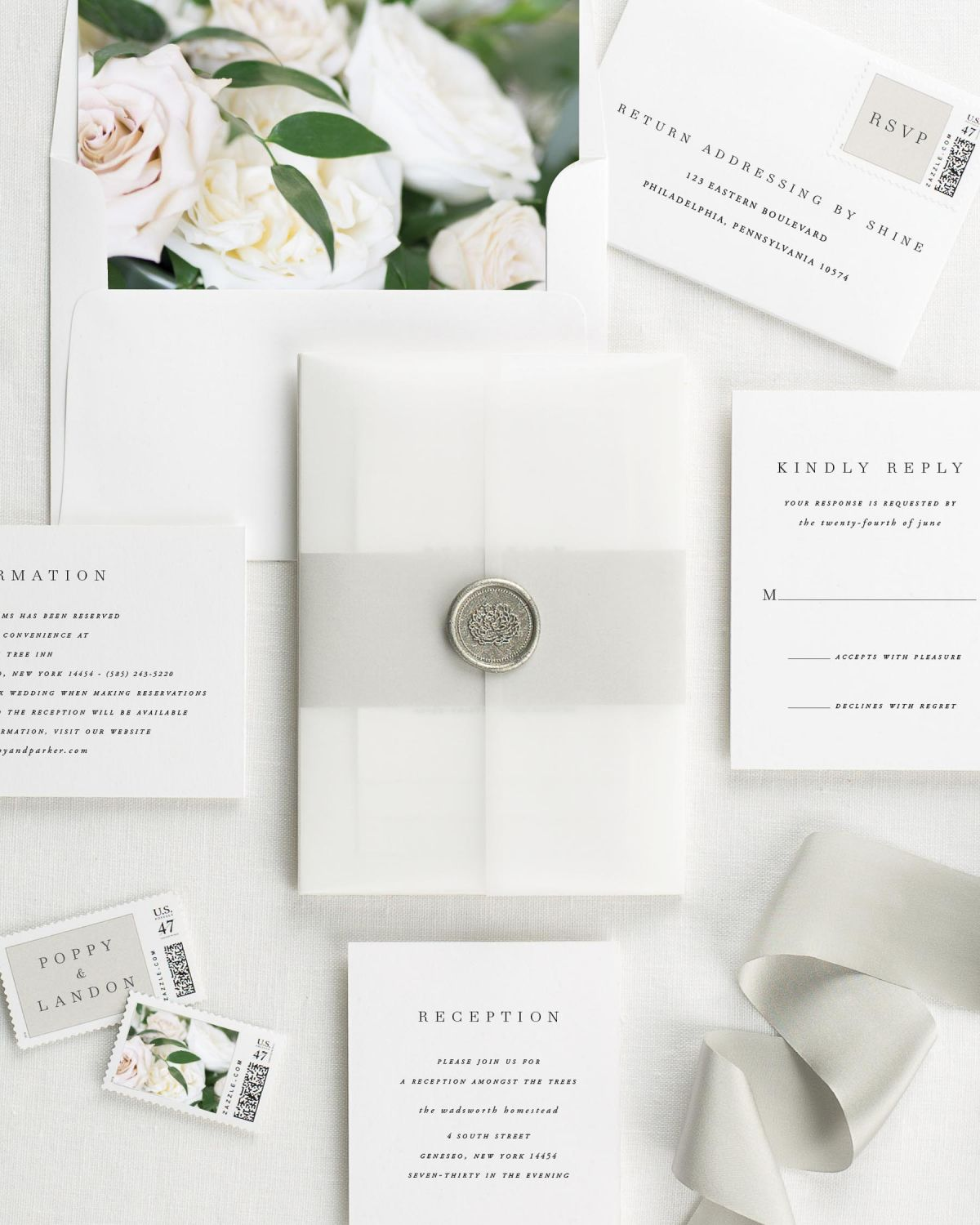 Poppy Floral Wedding Invitations - Floral Wedding Invitations by Shine