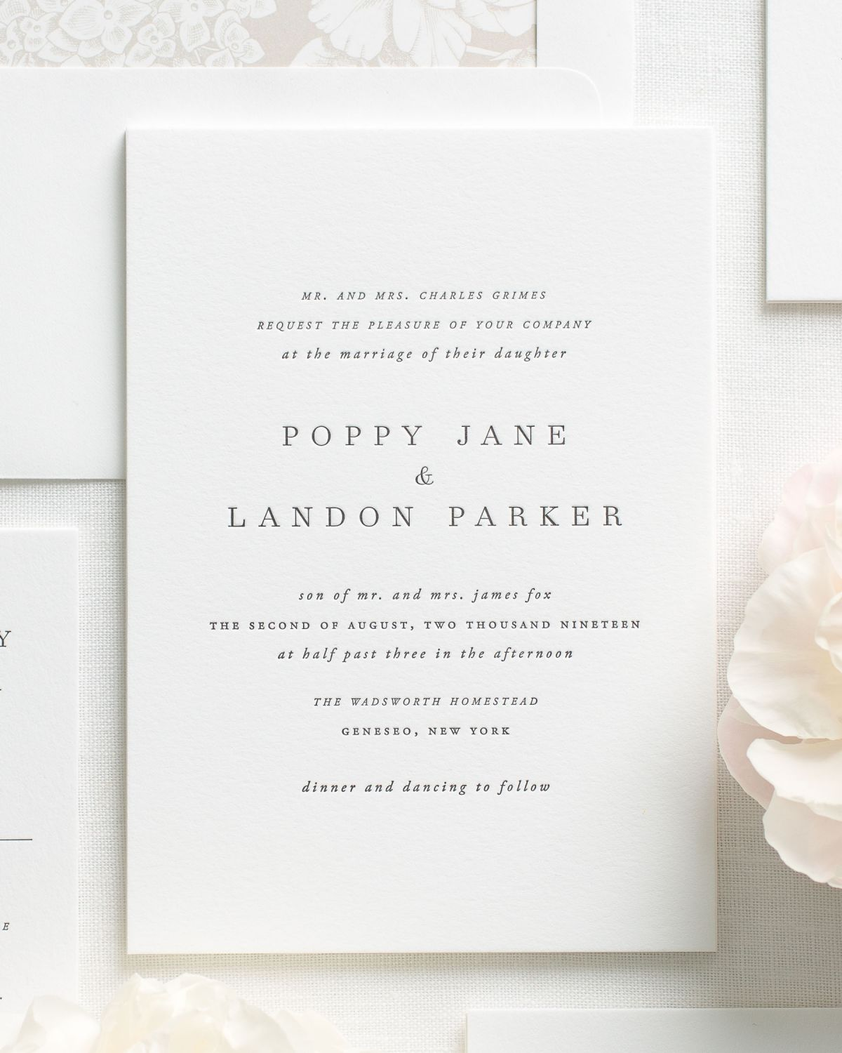 Simple Letterpress Wedding Invitations with Block Font