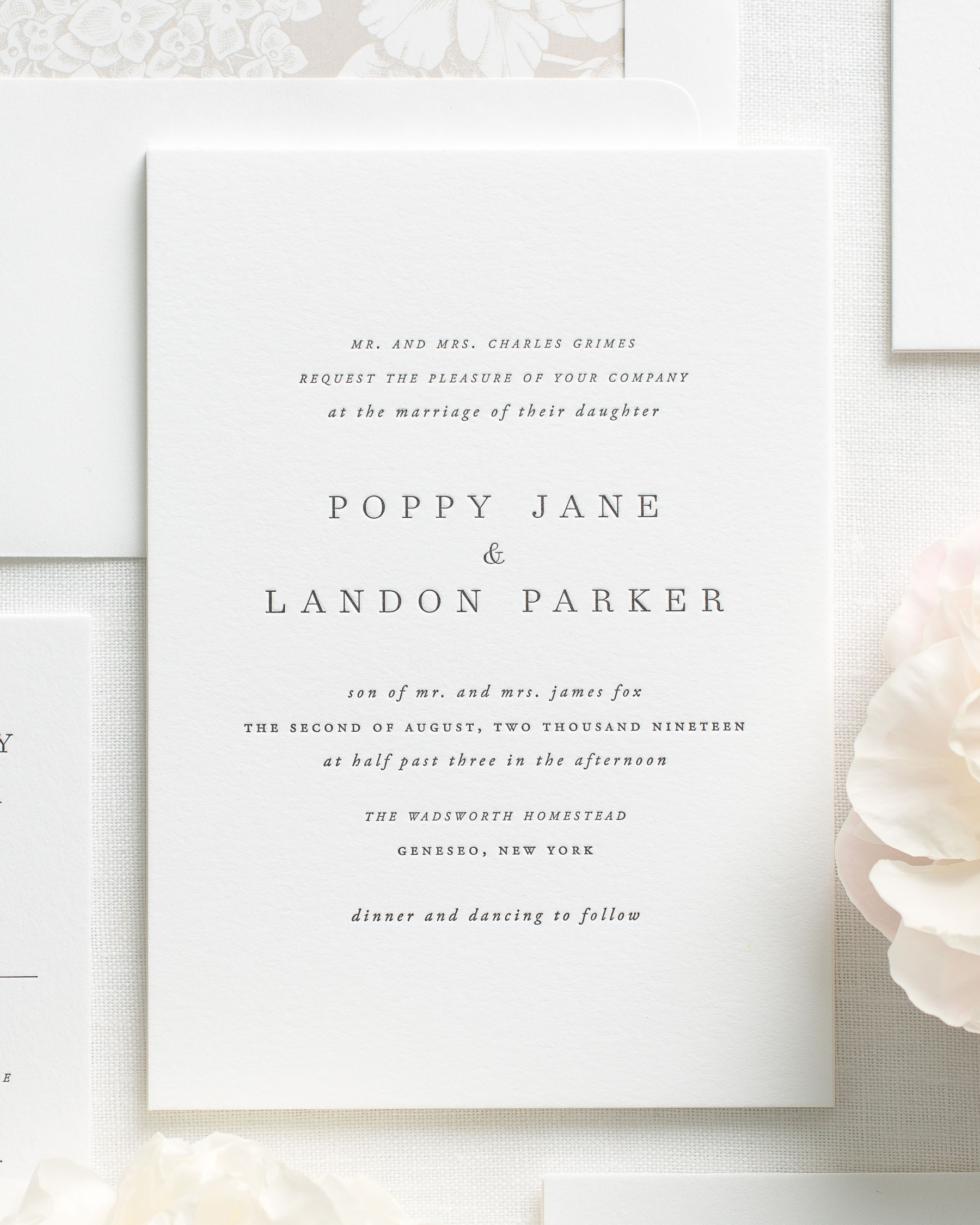 Poppy Letterpress Wedding Invitations   Letterpress Wedding Invitations By  Shine