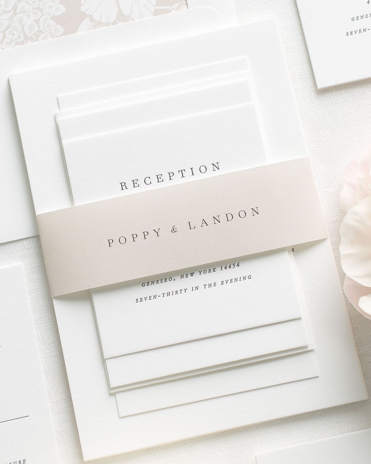 Beige Wedding Invitations with Belly Band and Engraved Printing