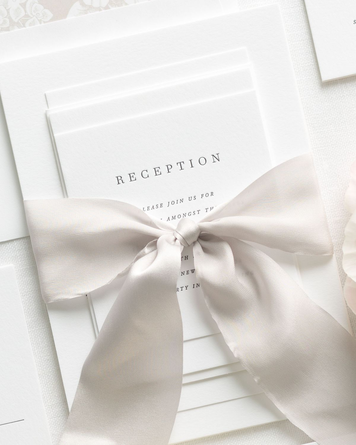 Light Brown Wedding Invitations with Silk Ribbon