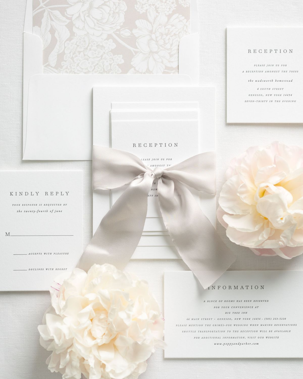 Mocha Wedding Invitations with Silk Ribbon and Floral Envelope Liner