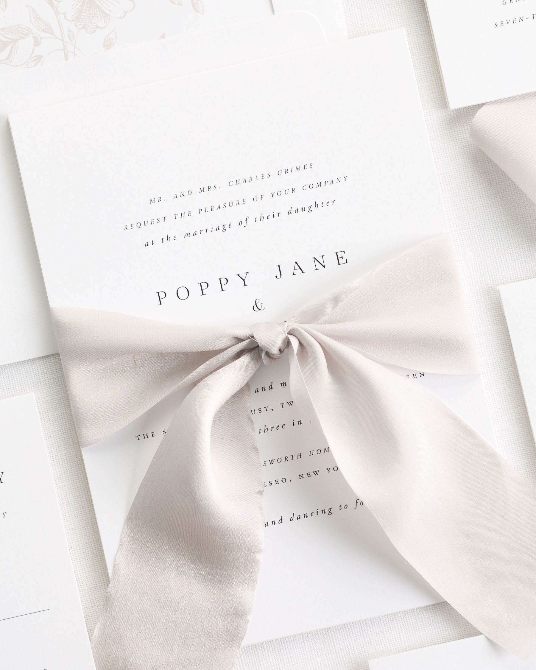Poppy Ribbon Wedding Invitations