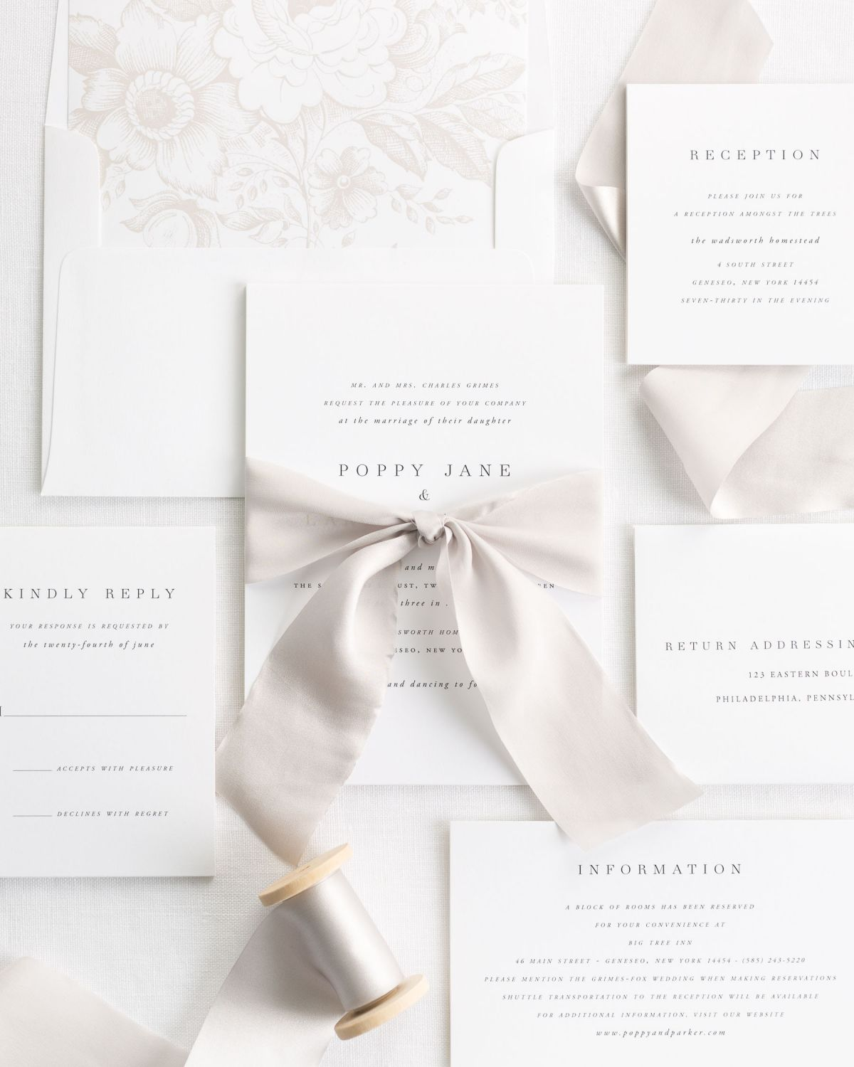 Silk Ribbon Wedding Invitations in mocha with a simple and classic design