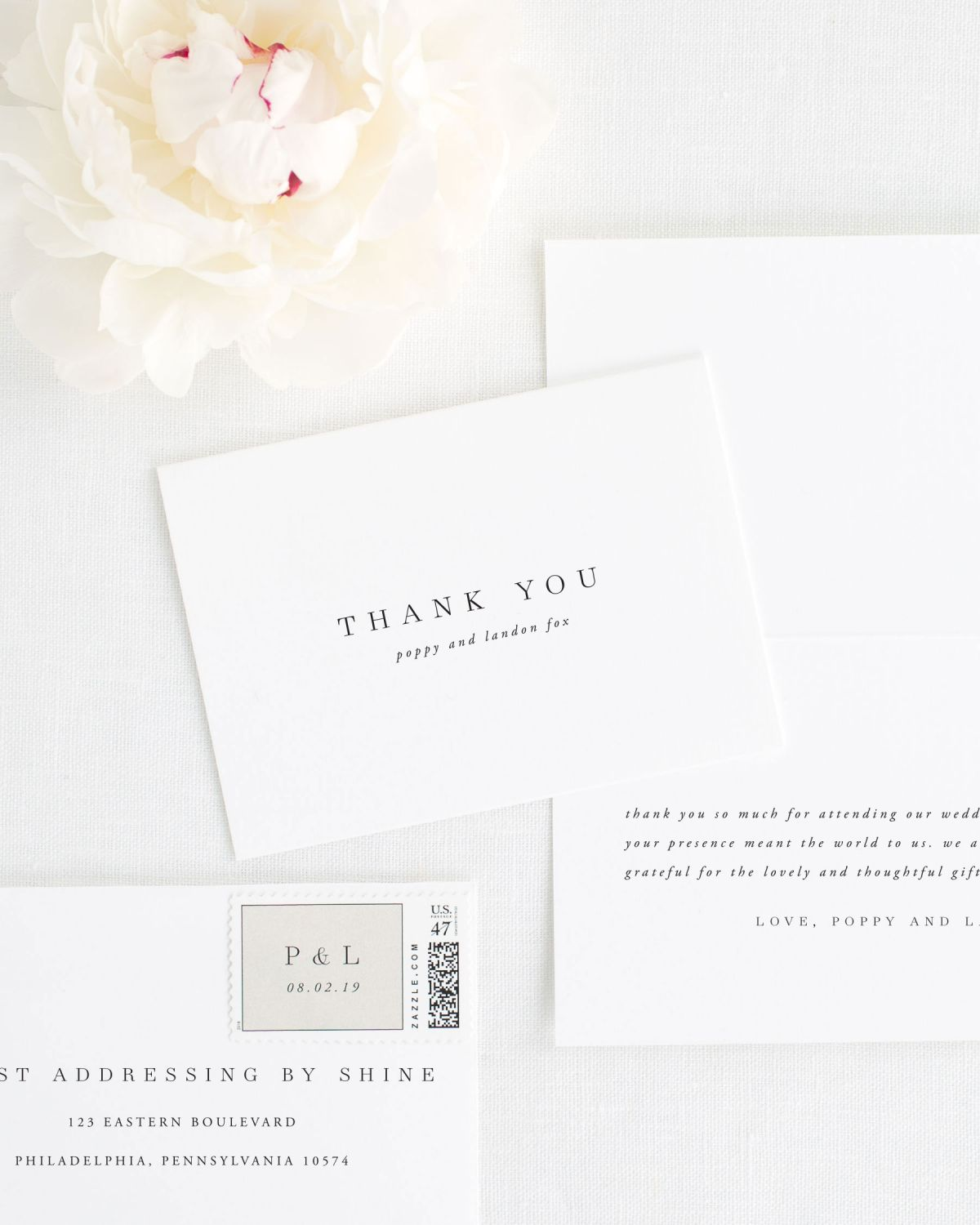 Poppy Thank You Cards for Weddings
