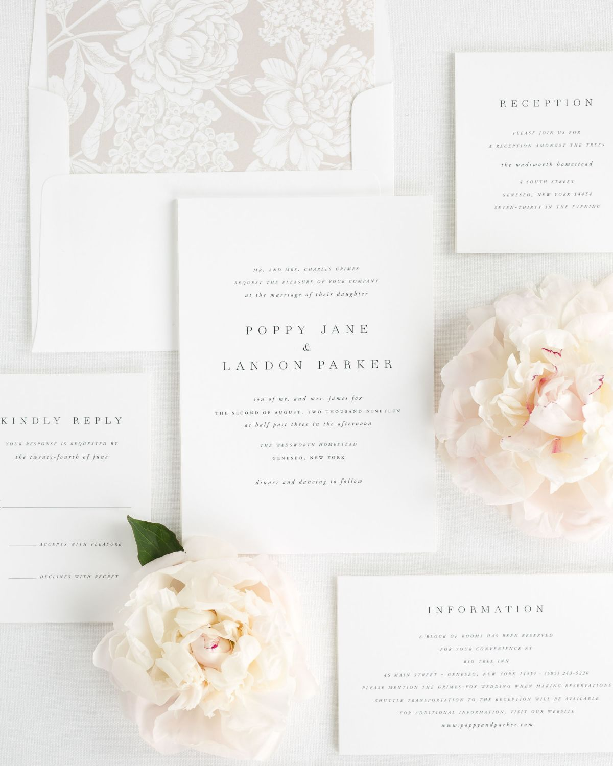 Neutral Wedding Invitations with a Floral liner
