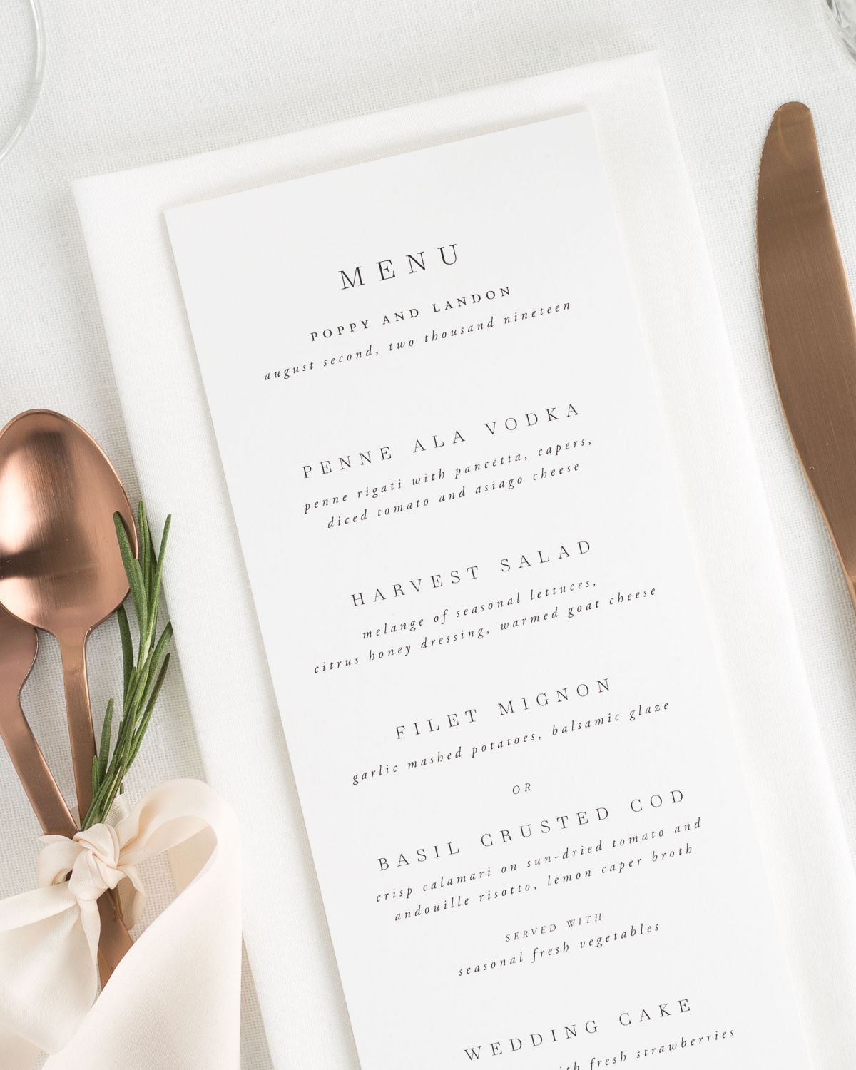 Poppy Dinner Menus