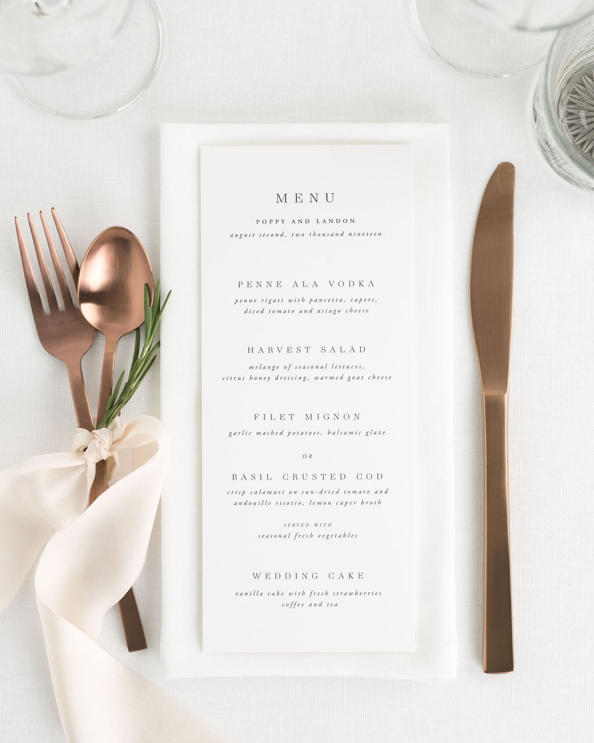 Simple Wedding Menus with Greenery