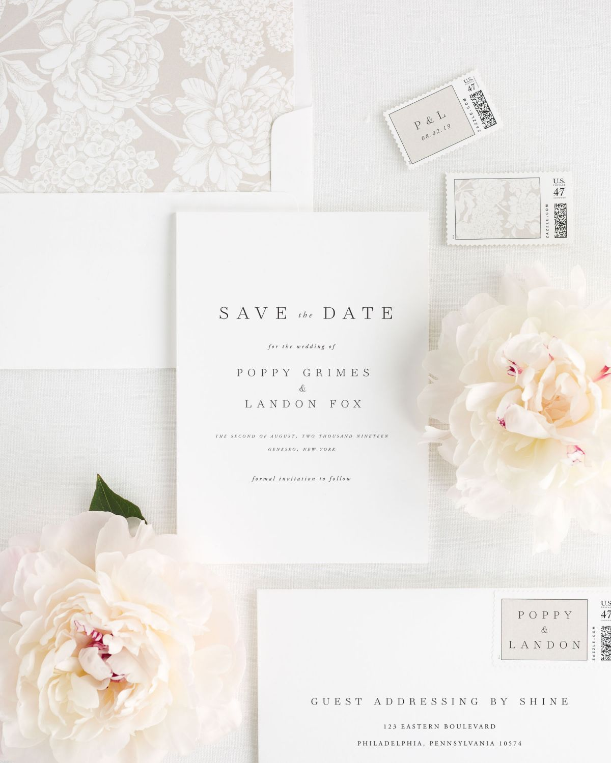 Save the Date with Mocha Envelope Liner and Custom Postage