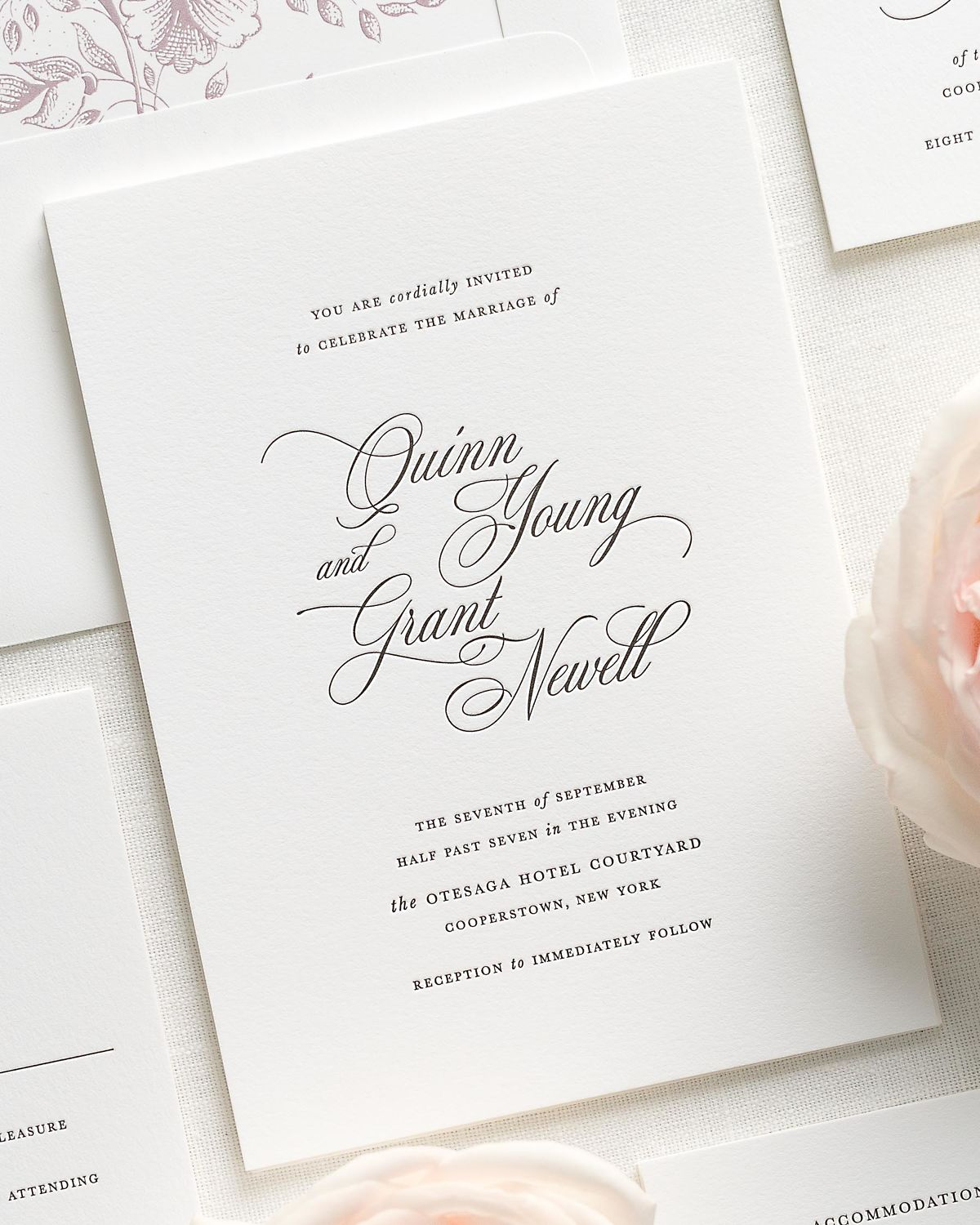 classic and traditional letterpress wedding invitations with a fig liner