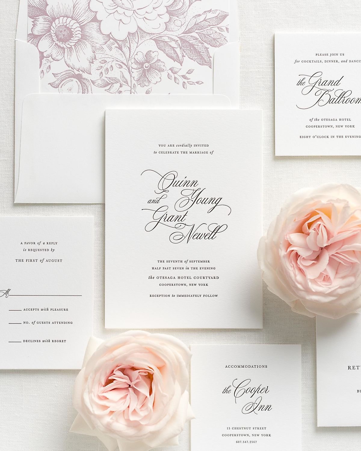 Letterpress Wedding Invitations with Mauve Garden Rose Envelope Liner and Matching Accessories