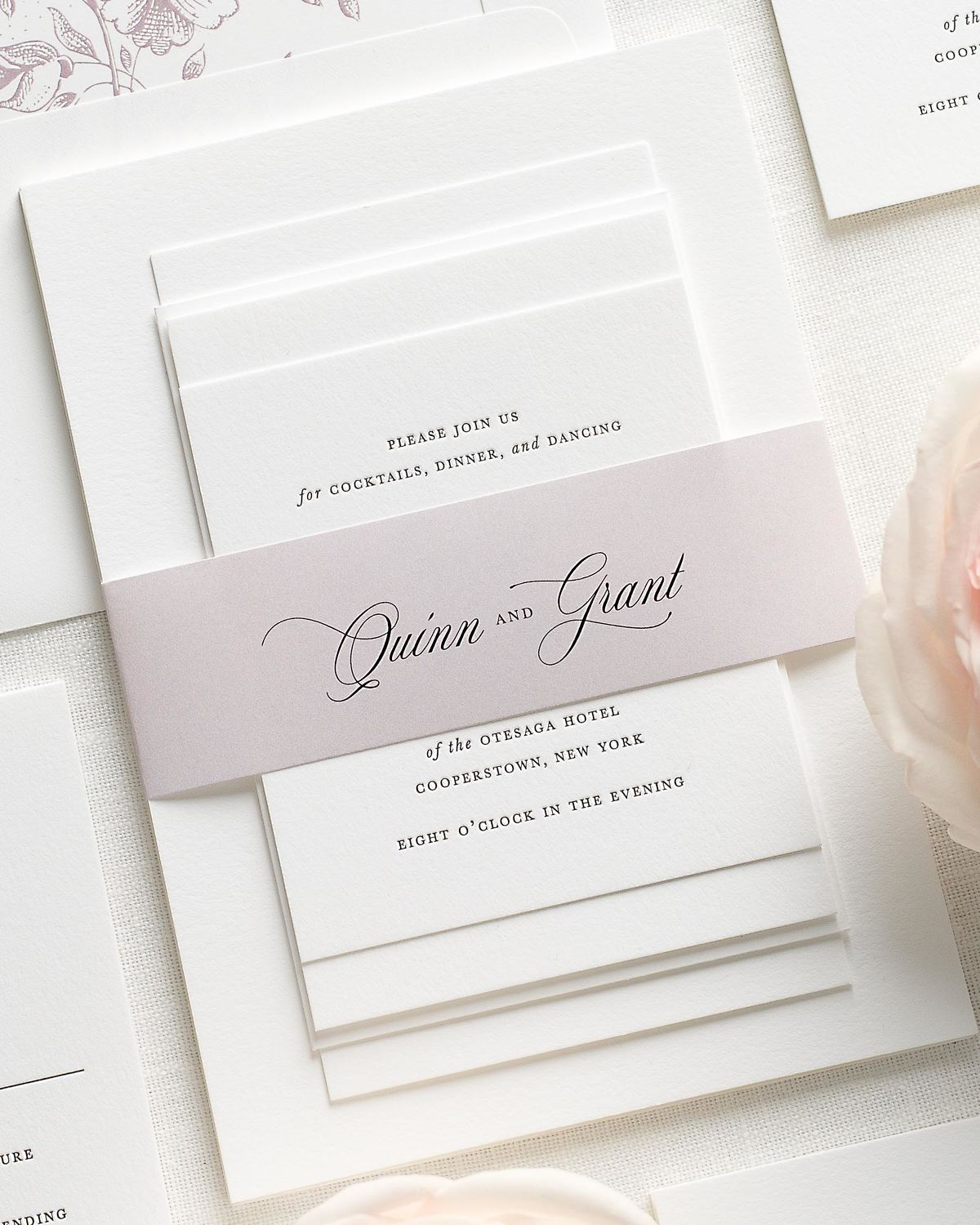 Wedding Invitations with Mauve Belly Band and Letterpress Printing