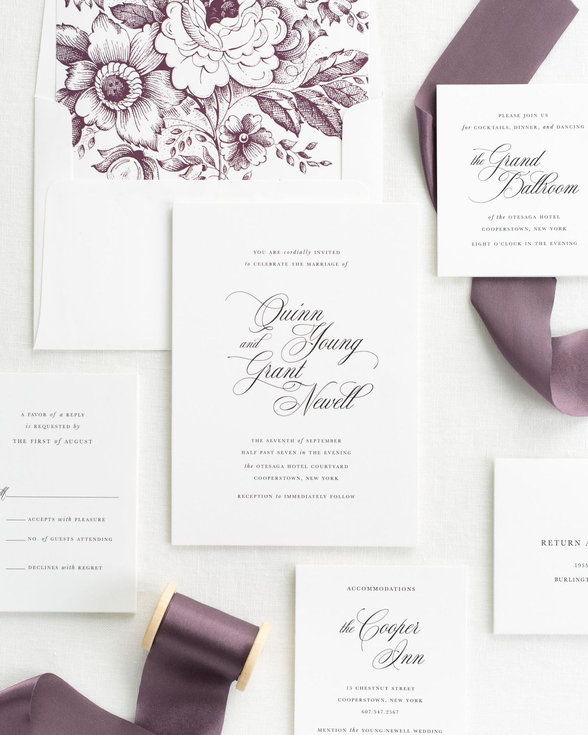 Romantic Wedding Invitations with Mulberry Silk Ribbon Wedding
