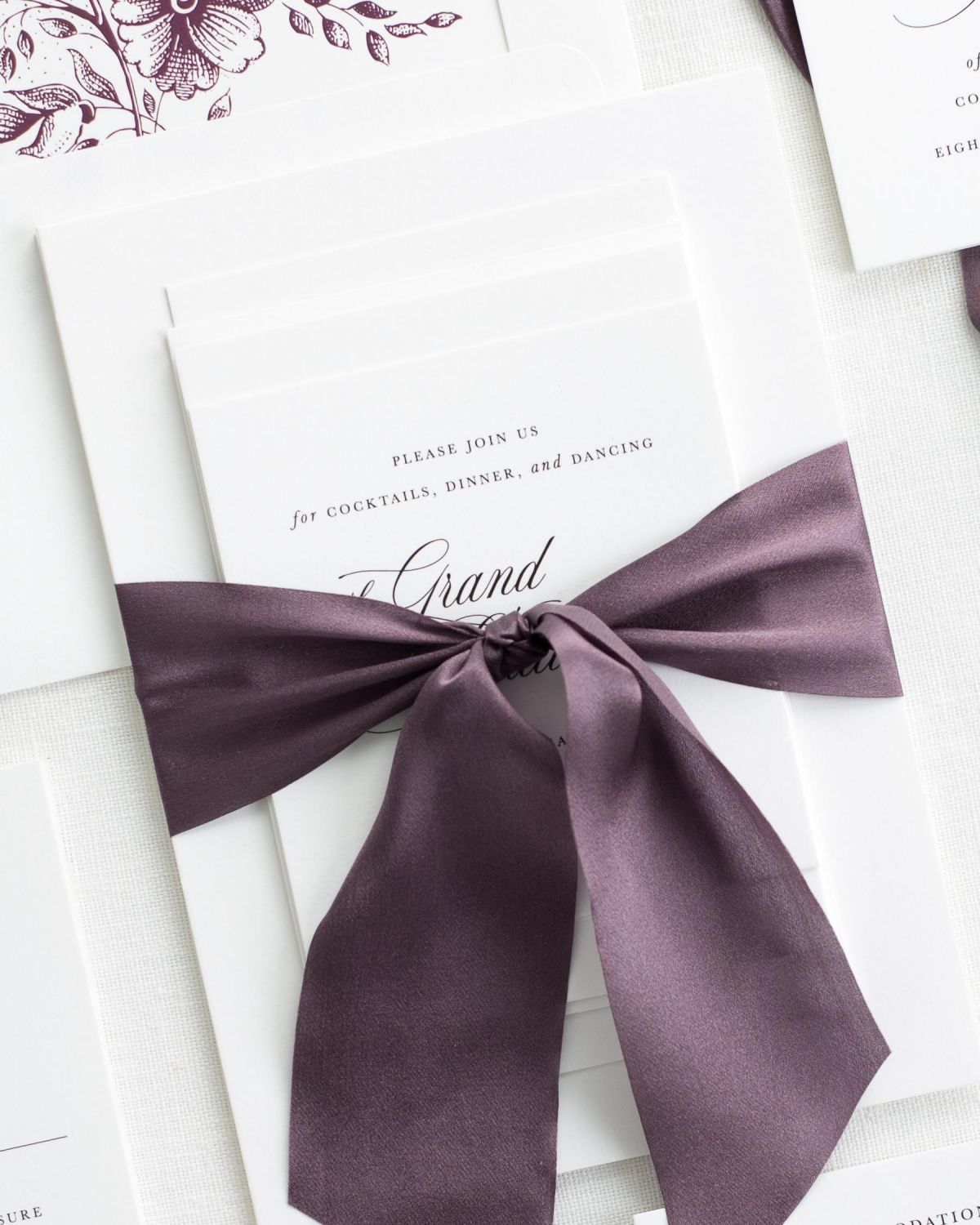 Complete Wedding Stationery Suite with Mulberry Ribbon and Enclosures