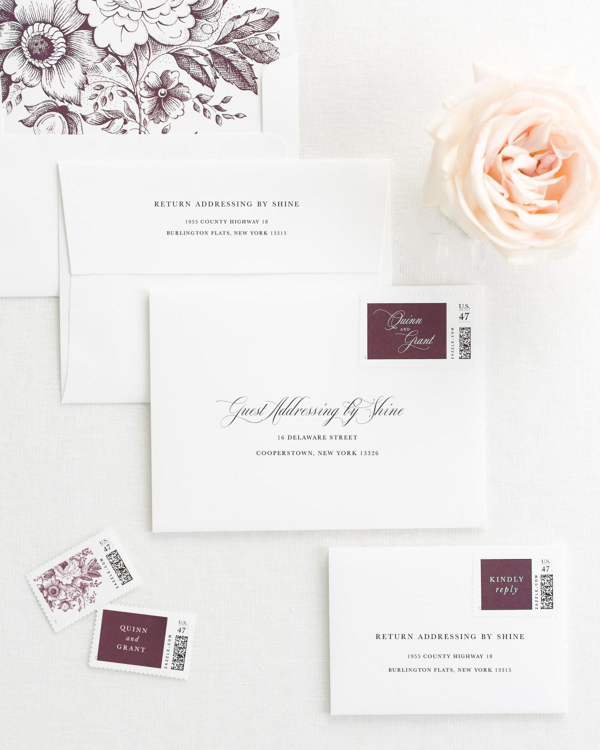 Wedding Invitation Envelopes with Pre-Printed Addresses and Matching Fig Custom Postage