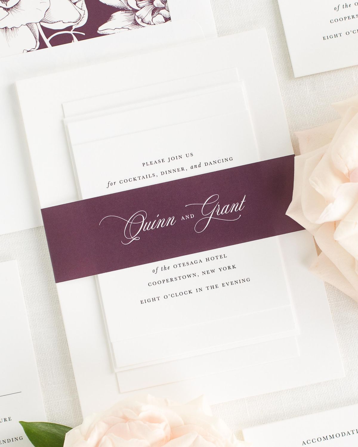 Fig Wedding Invitations with Belly Band and Blooms Envelope Liner