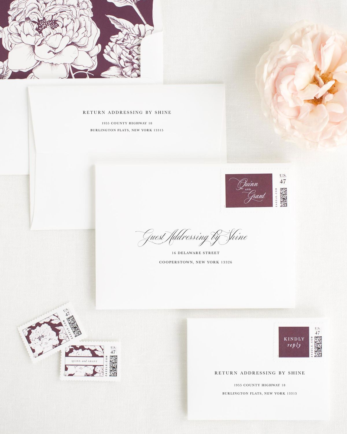 Wedding Invitation Envelopes with Fig Personalized Postage and Blooms Liner