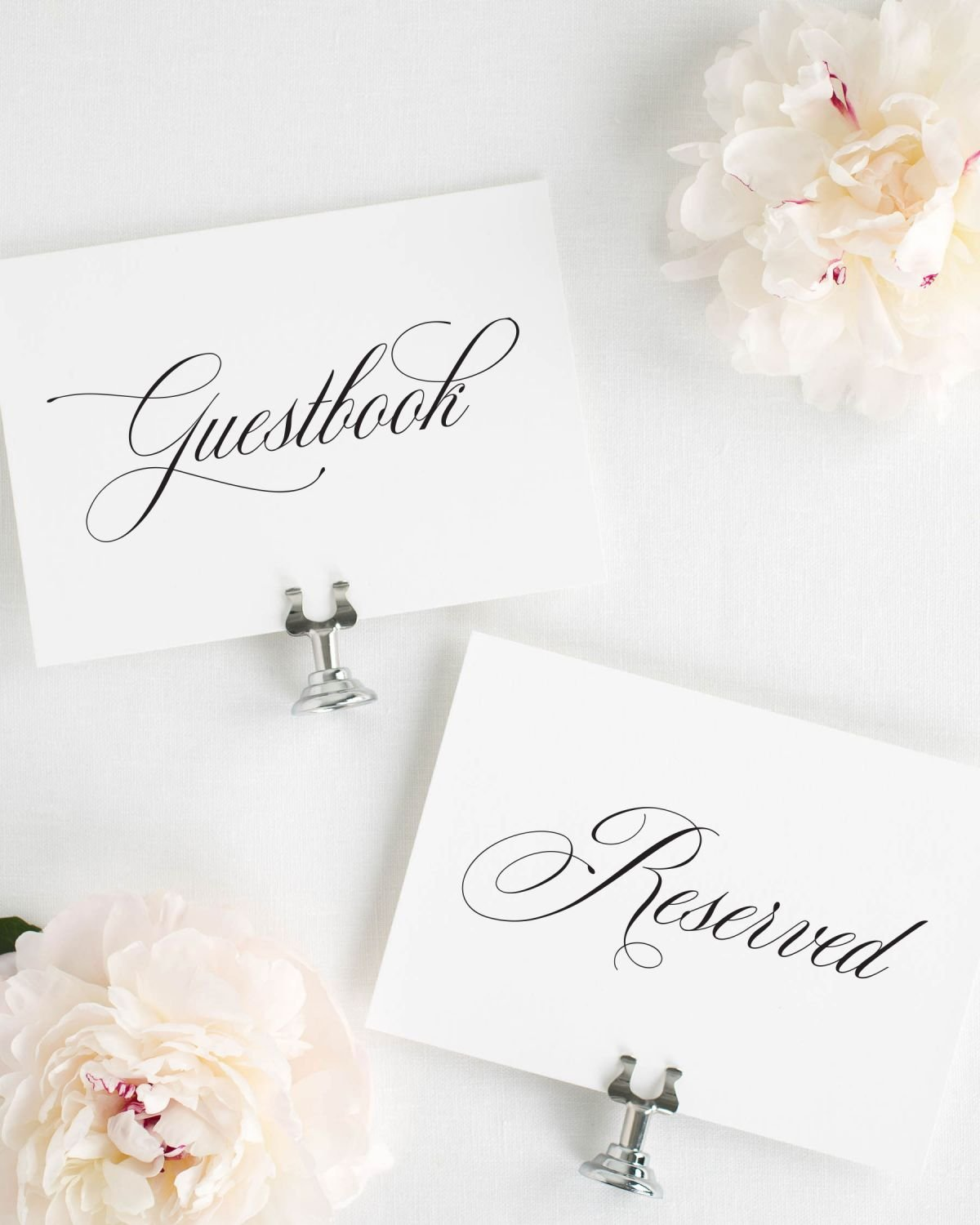 Reserved and Guestbook Signs for a Wedding