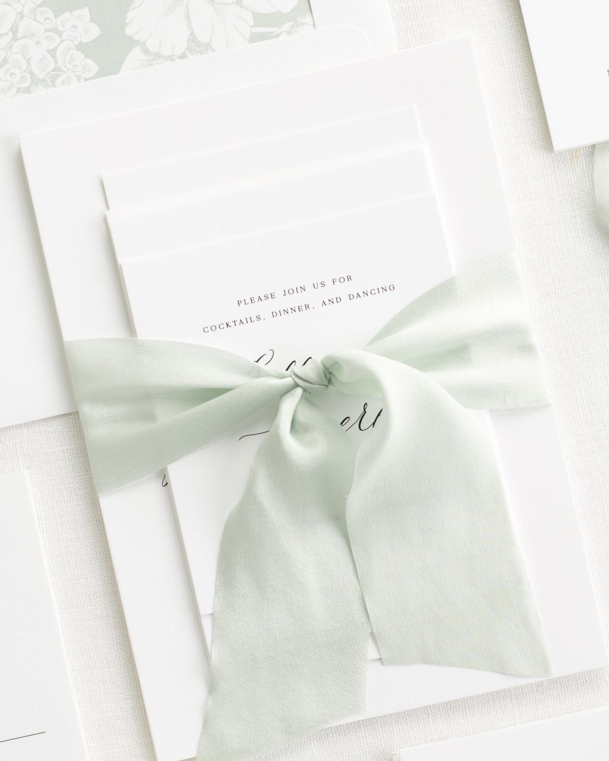 Complete Wedding Stationery Set with Laurel Ribbon and Enclosures