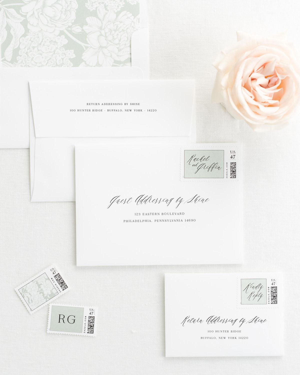 Wedding Invitation Envelopes with Pre-Printed Addresses and Matching Sea Salt Personalized Stamps