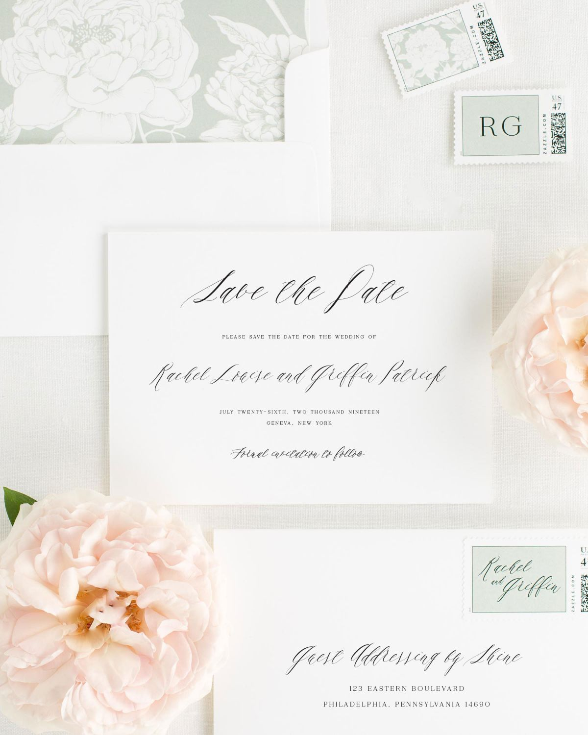 Save the Date with Sea Salt Envelope Liner and Personalized Postage