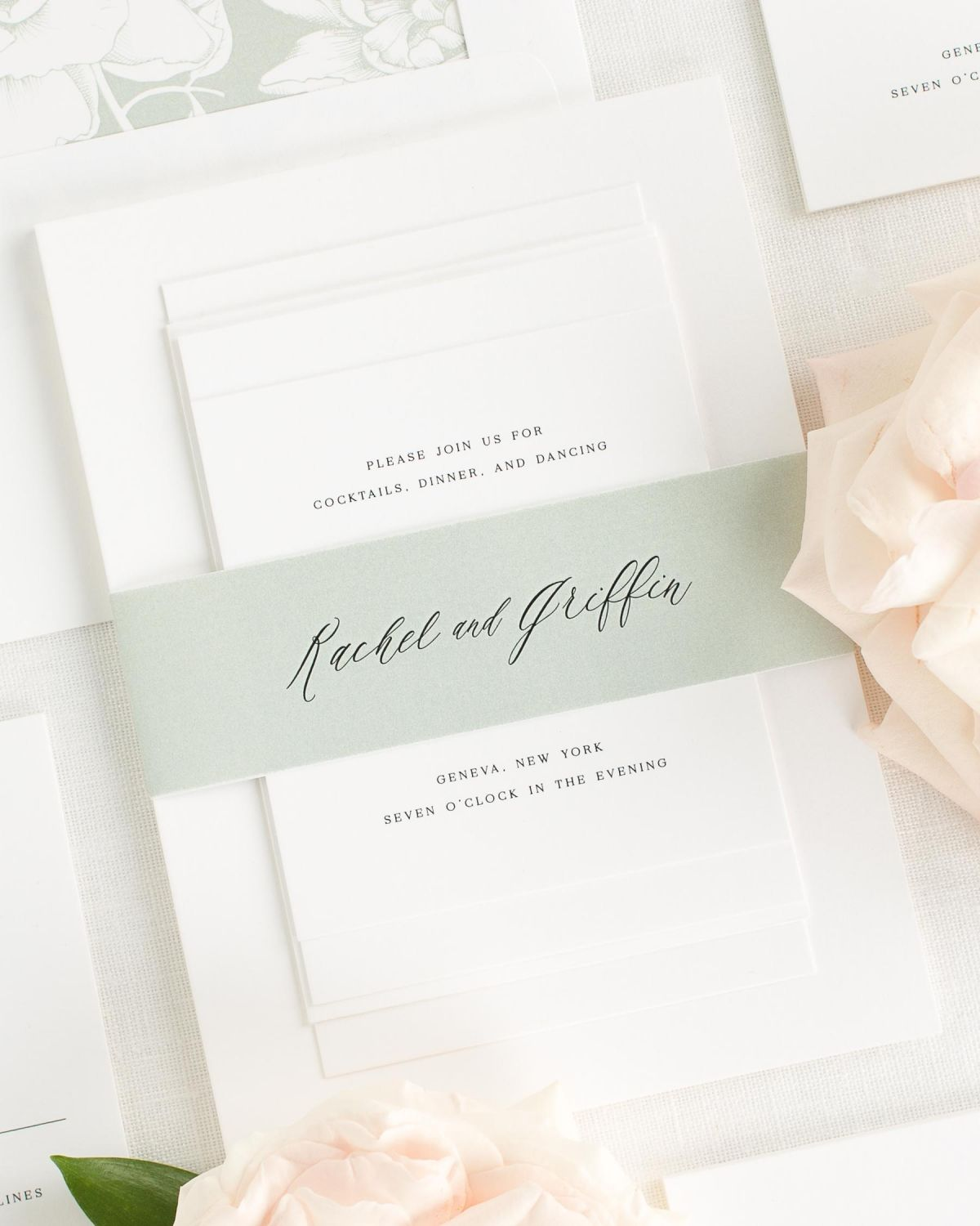 Sea Salt Wedding Invitations With Belly Band And Blooms Envelope Liner