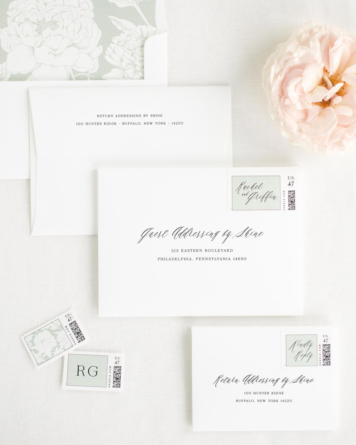 Wedding Invitation Envelopes With Sea Salt Personalized Stamps And Blooms Liner