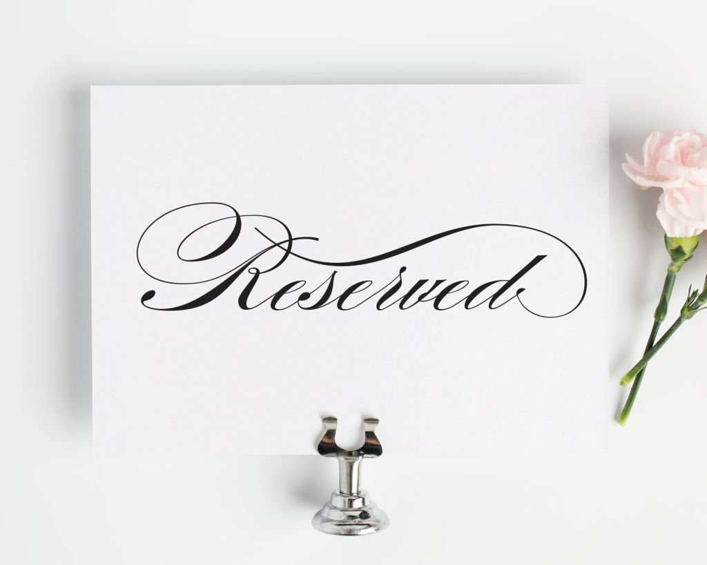 Reserved Sign For Wedding Reception Ceremony Or Vip