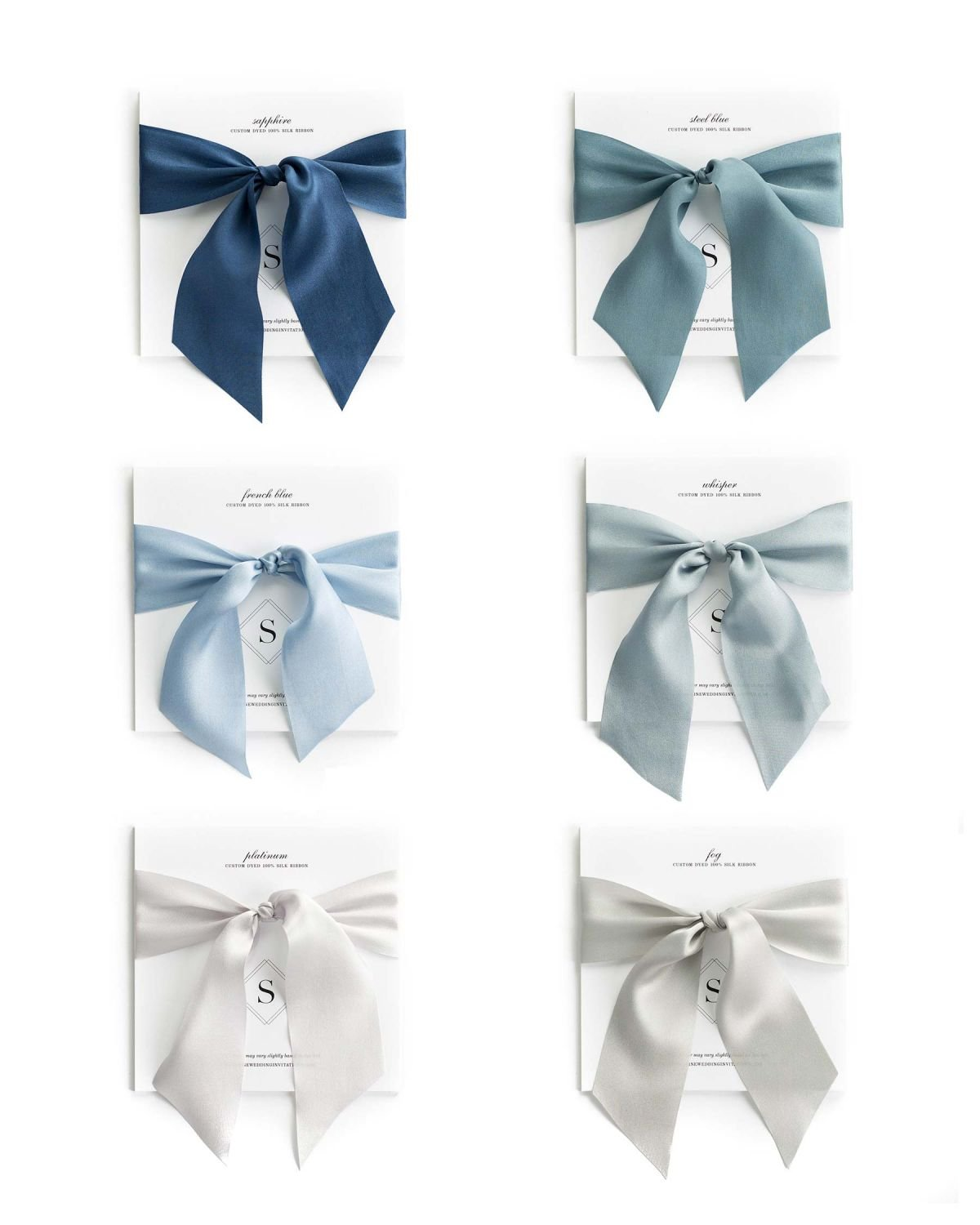 Silk Ribbon Samples in Shades of Blue