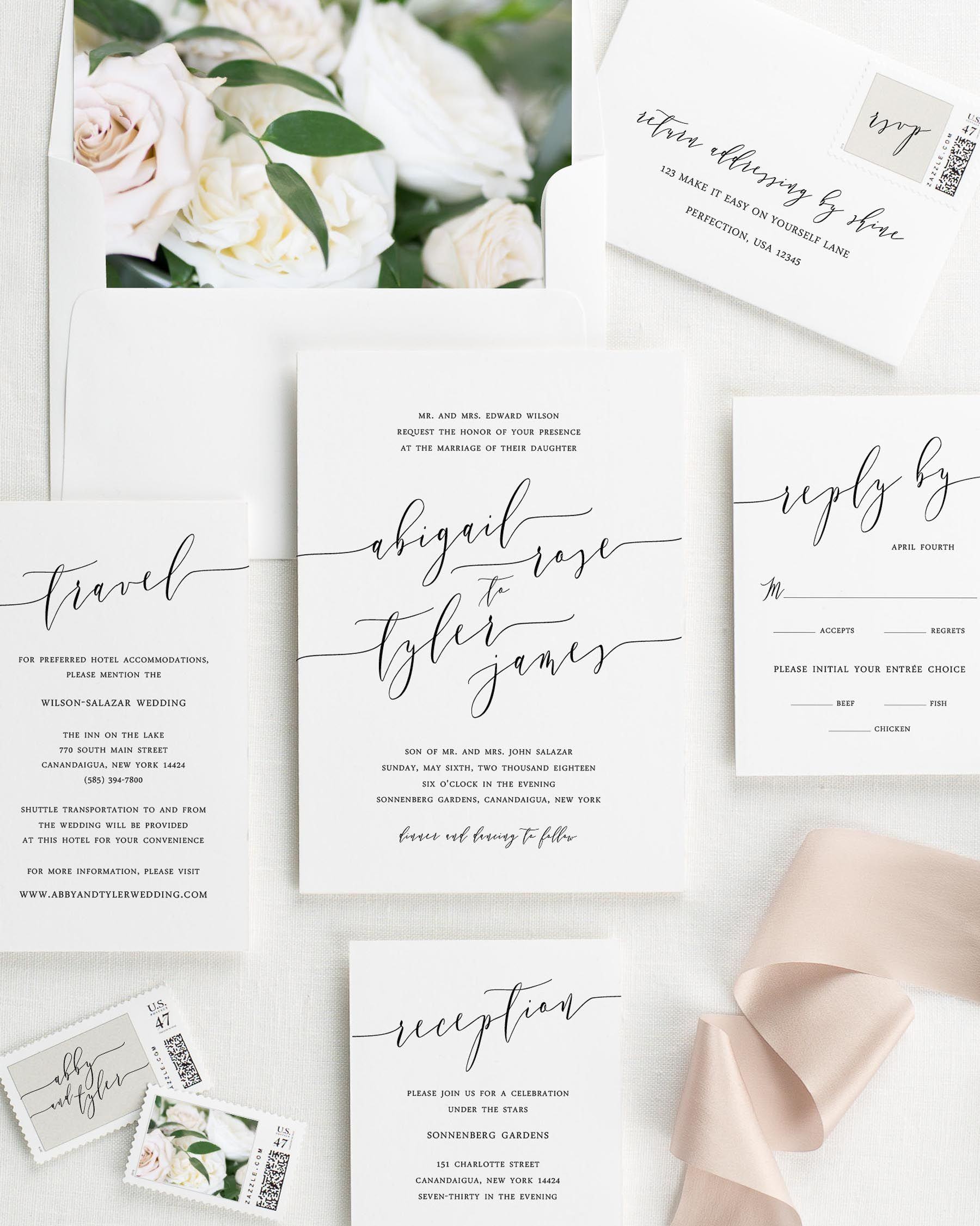Romantic Calligraphy Floral Wedding Invitations - Floral Wedding ...
