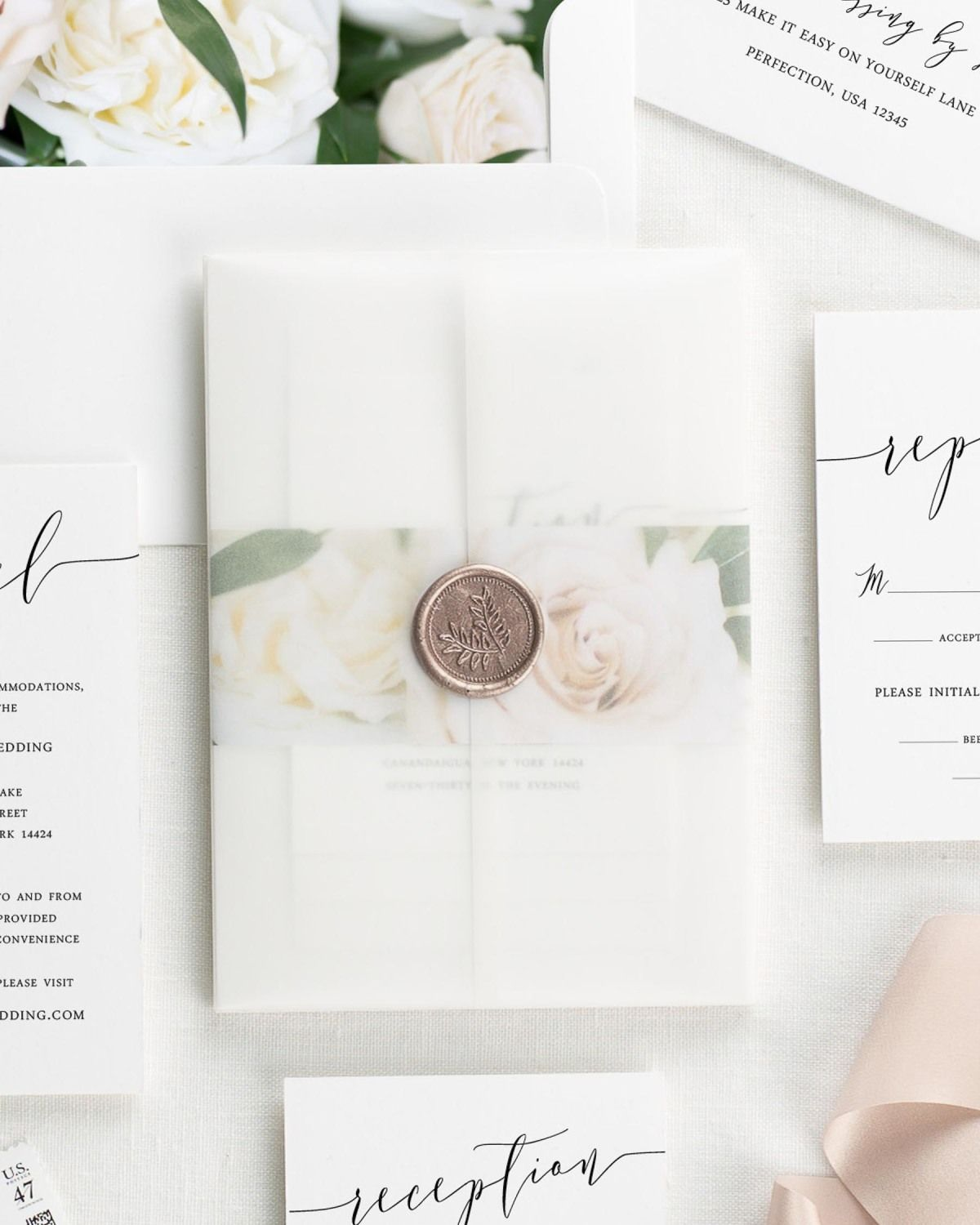 Romantic Calligraphy Floral Wedding Invitations Floral