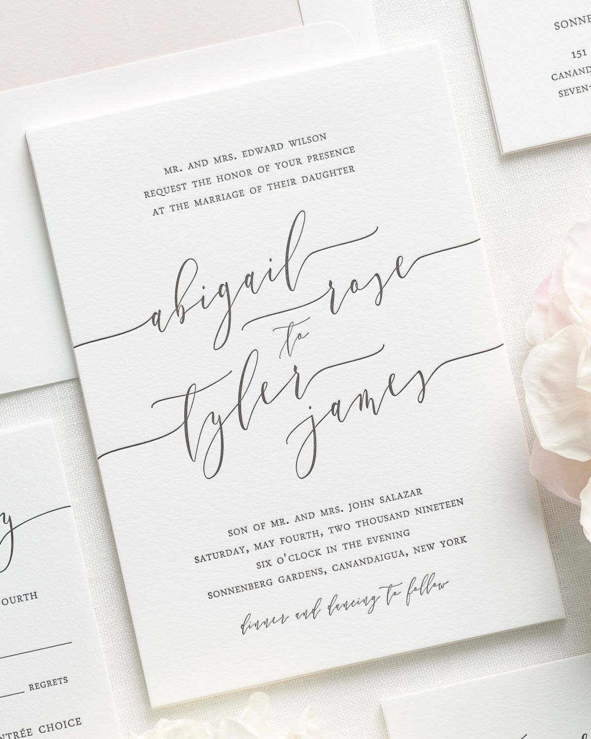 Letterpress Wedding Invitations with Modern Calligraphy